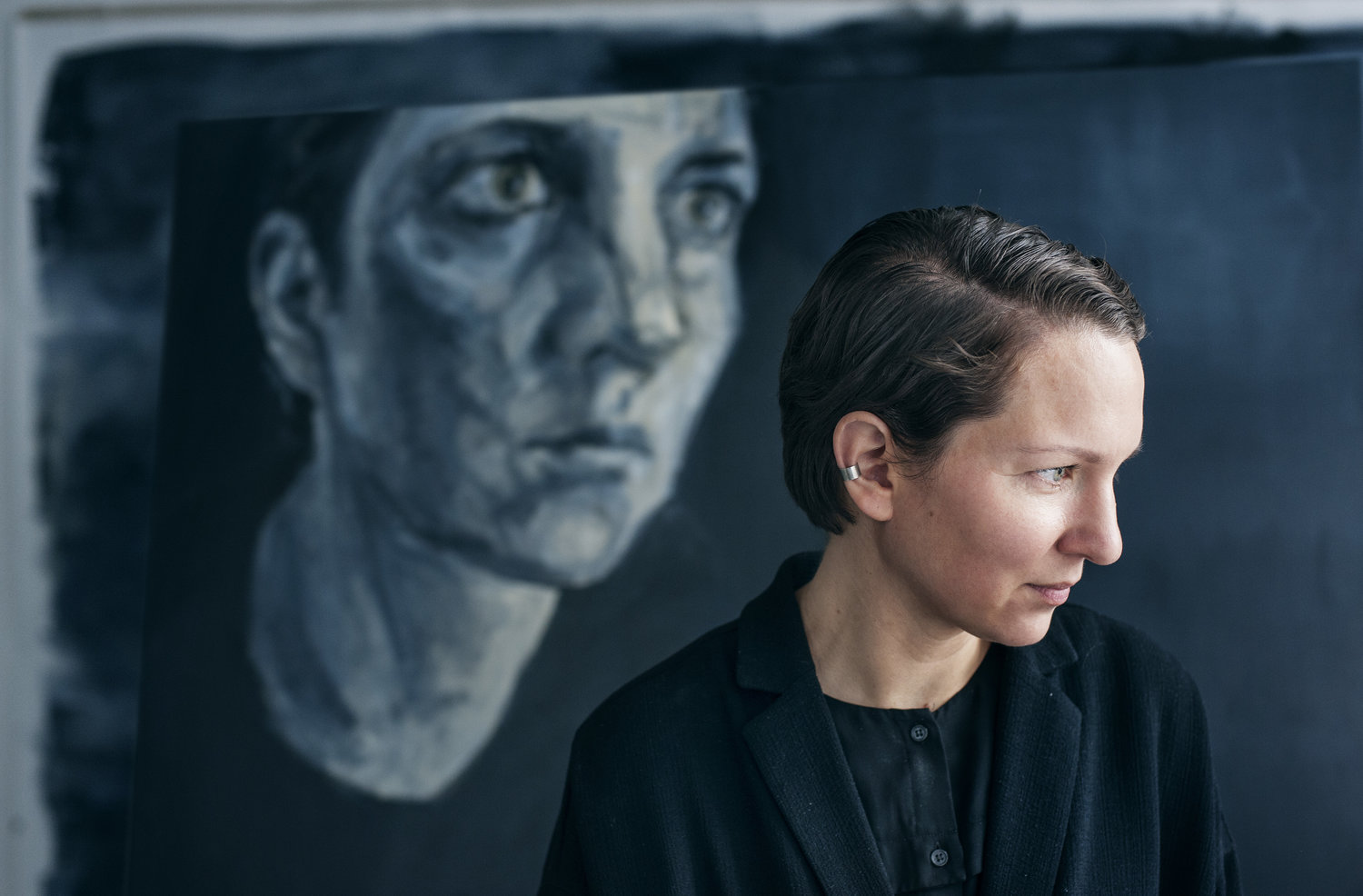 Greenlandic artist Bolatta Silis Høegh with a piece from the series STORM at Cesis Art Festival