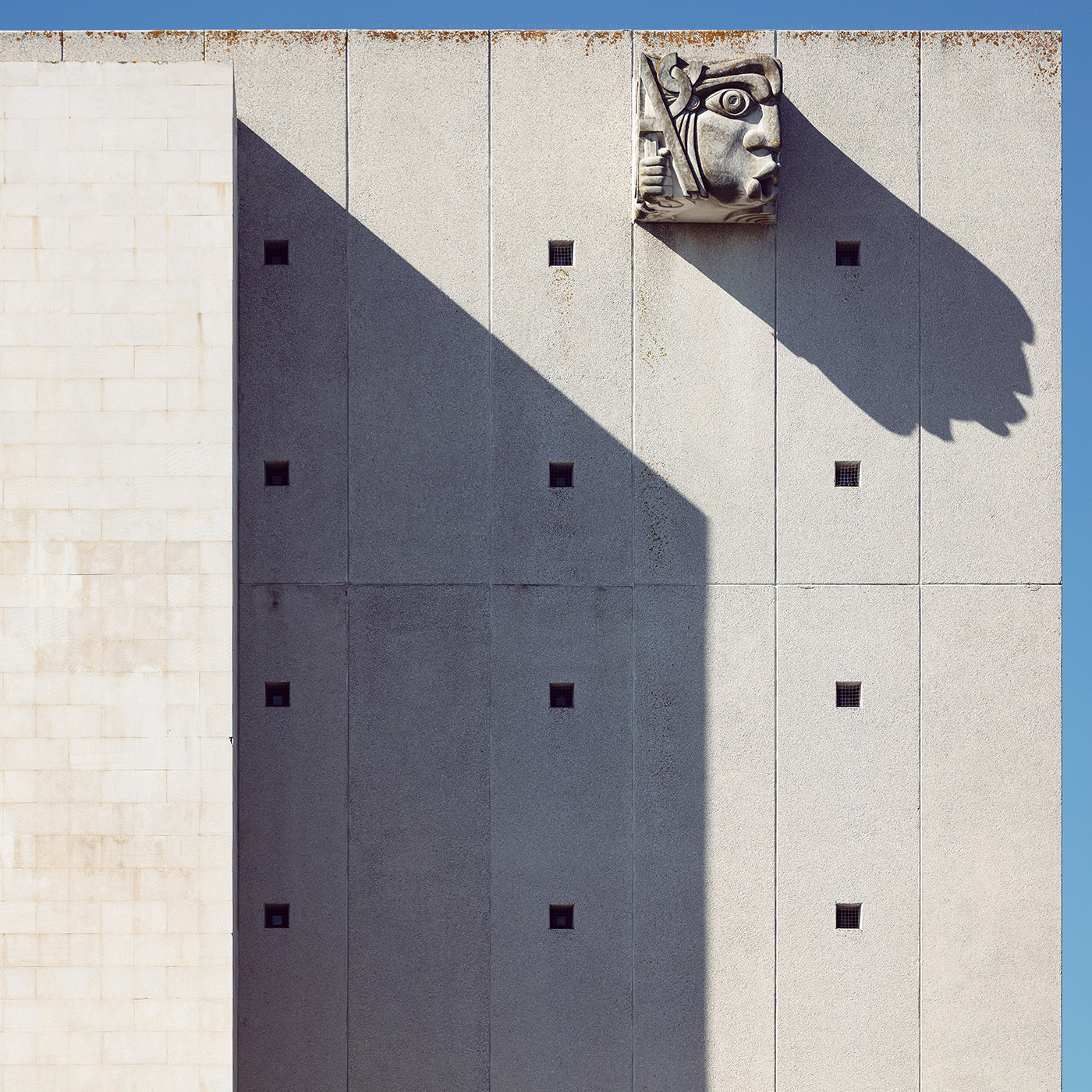 National Archive of Torre do Tombo . Location: Lisbon, Portugal . Architect: New Torre do Tombo archive building - Ateliers Associados and sculptor José Aurélio
