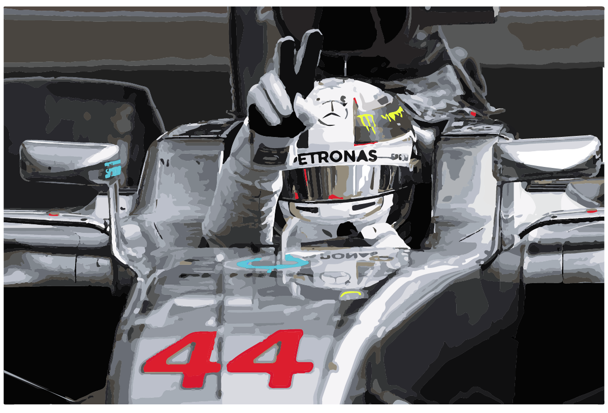 Lewis Hamilton in his AMG F1 W08 EQ Power+ - multiple graduations from black to white is the prominent colour, and make for great depth and lighting.