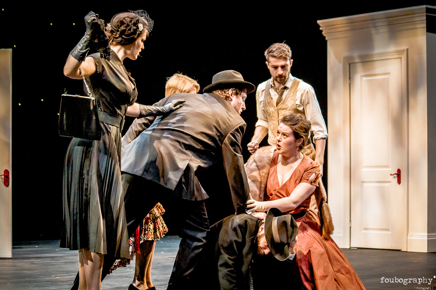 Fiona Finsbury, Rebecca Barry, Louis-Charles Gagnon, Freya Holliman in  Don Giovanni  (OS)  @Royal Northern College of Music - Opera Photography - 2017_