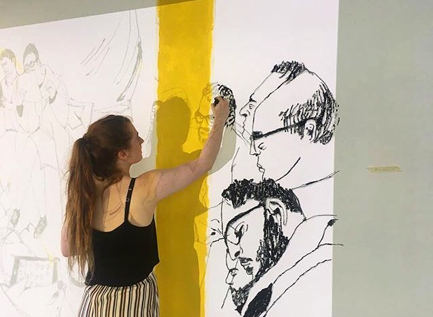 BEHIND THE SCENES - MAKING OF DEGREE SHOW MURAL. 2.4X2M, OIL PASTEL ON WALL.