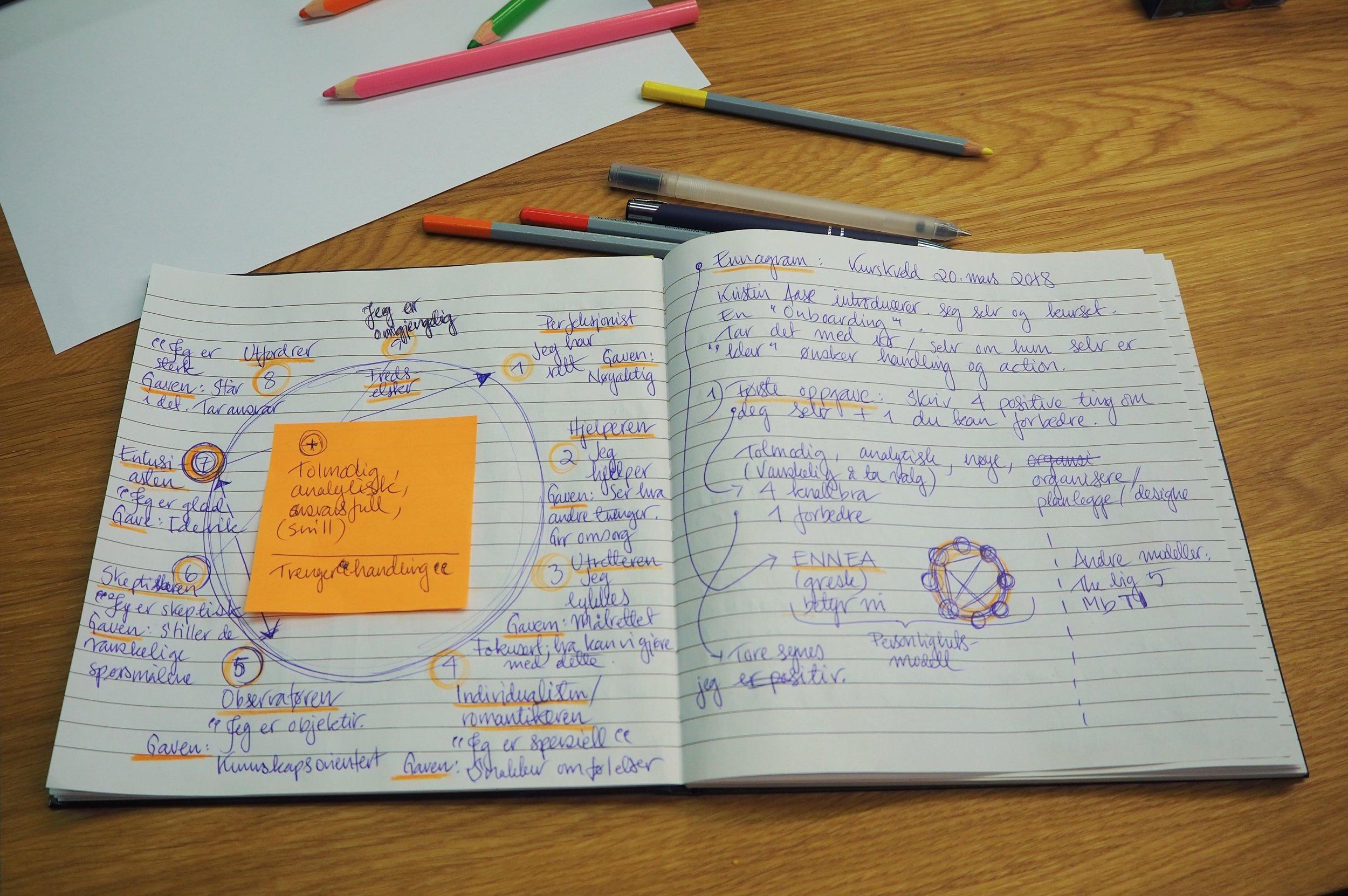 Linda Blaasværs illustrerte notater fra kurskvelden.