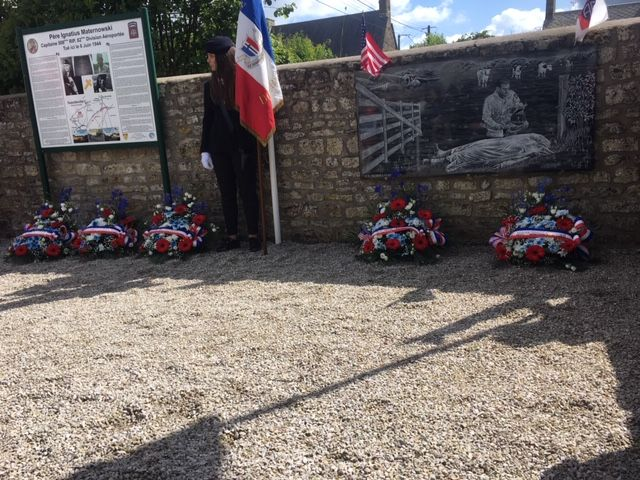 Memorial to Chaplain Maternowski in Guetteville, France after wreath-laying ceremony on June 8.