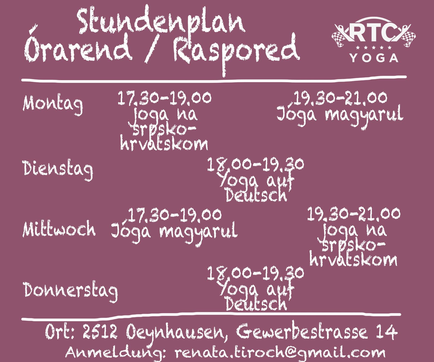 RTC Yoga Stundenplan - 2017. Sommersemester