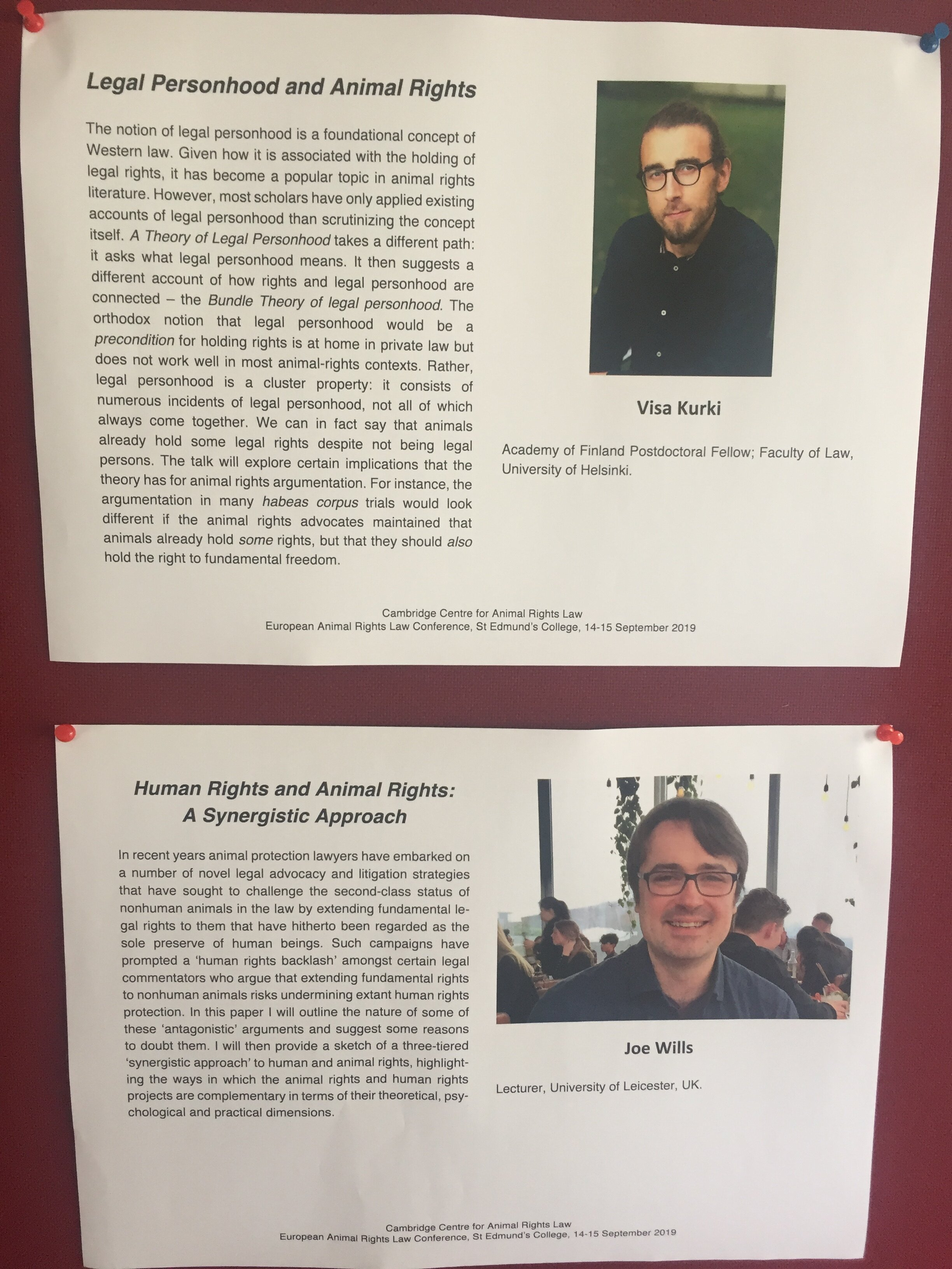Posters of Visa Kurki's and Joe Will's presentations