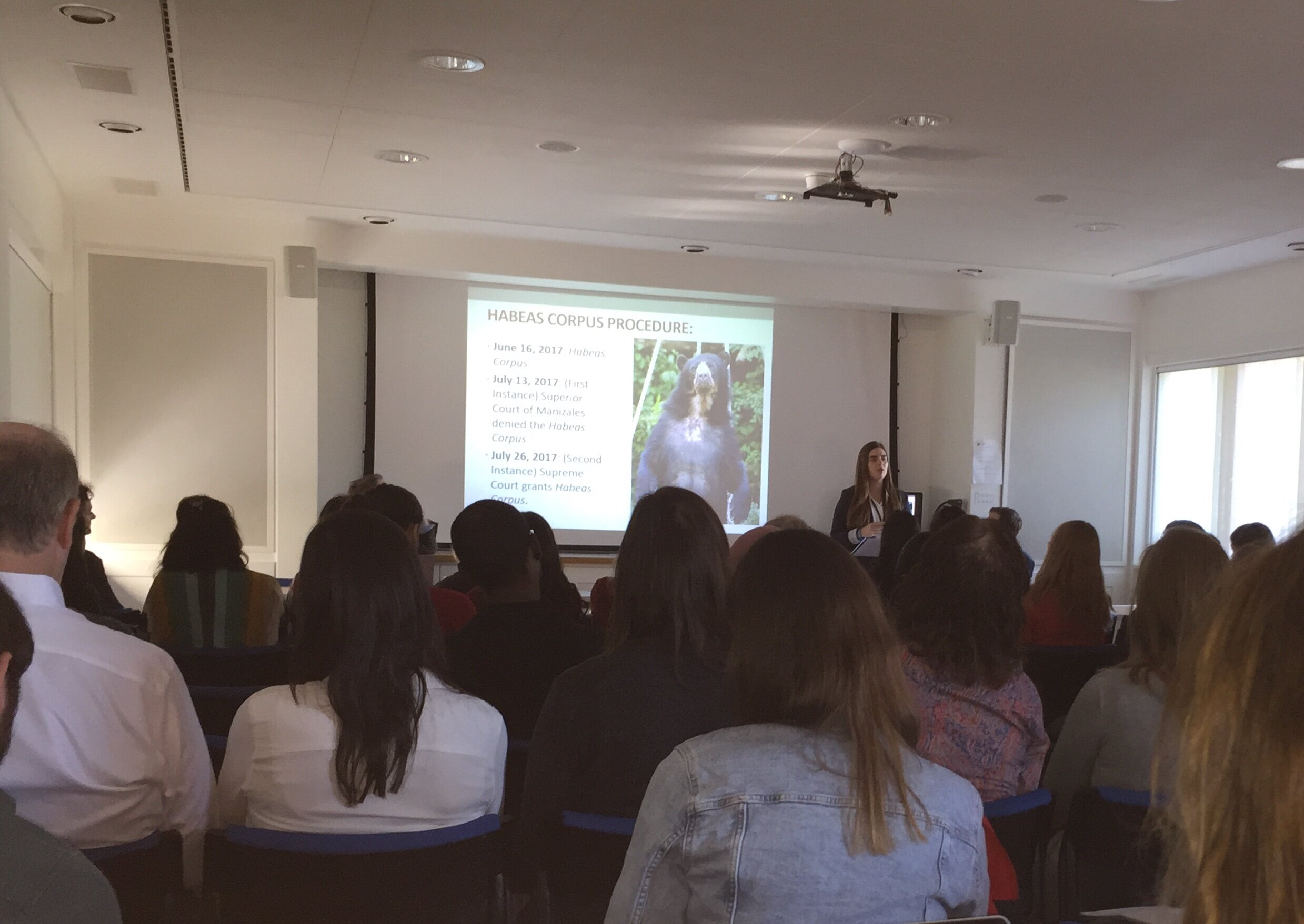 Macarena Montes presenting on the Chucho case