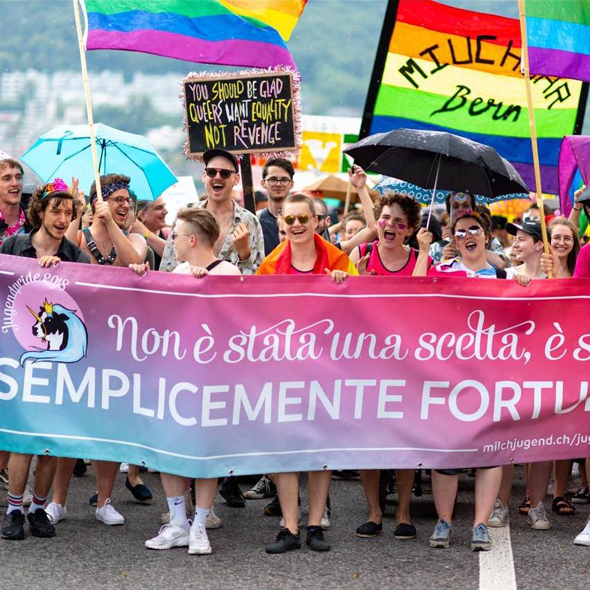 Bei der Pride-Demonstration in Lugano 2018.