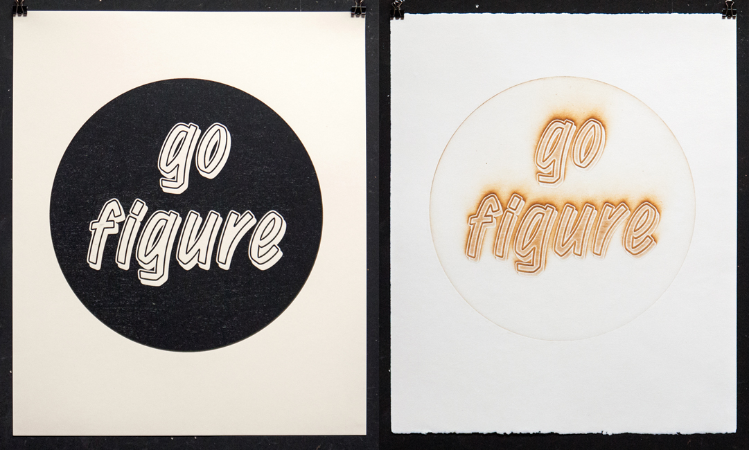 Go Figure  , woodblock relief printed on archival paper (left), pyrograph printed on cotton rag paper (right).