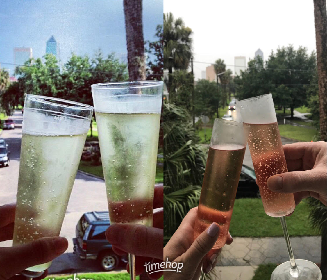 Every year we cheers on our home anniversary looking over downtown from our front porch.