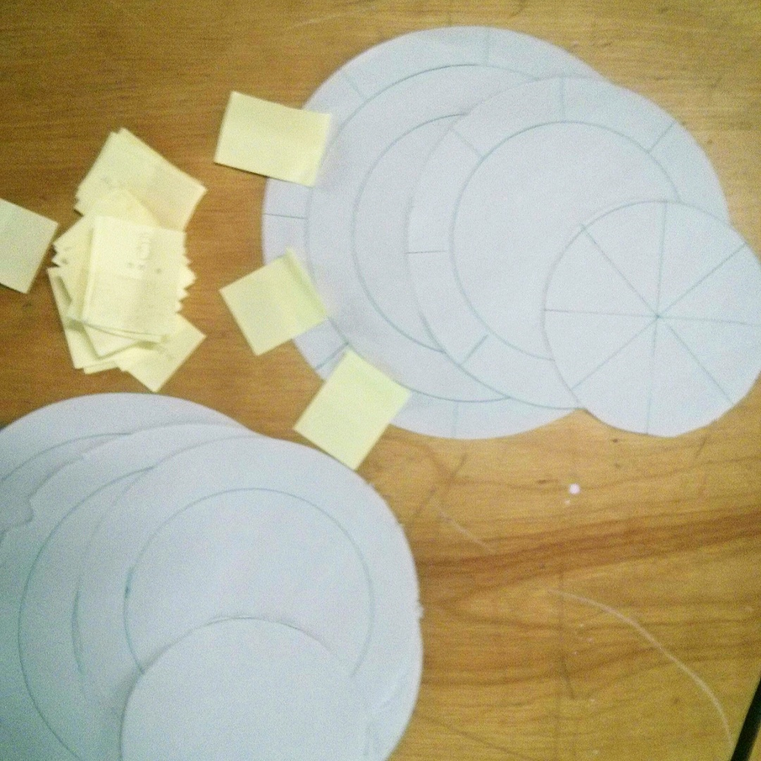 FIg. 1  We started developing the game using paper game board prototypes and post-it notes as cards.