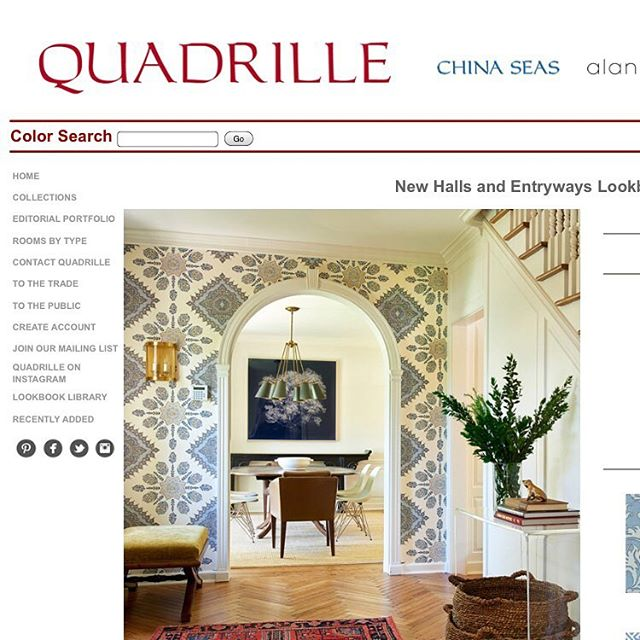 """Thank you @quadrillefabrics for featuring us on your home page for your """"Entry Halls and Entryways Lookbook"""" We love your Persepolis paper! @quadrillefabrics"""