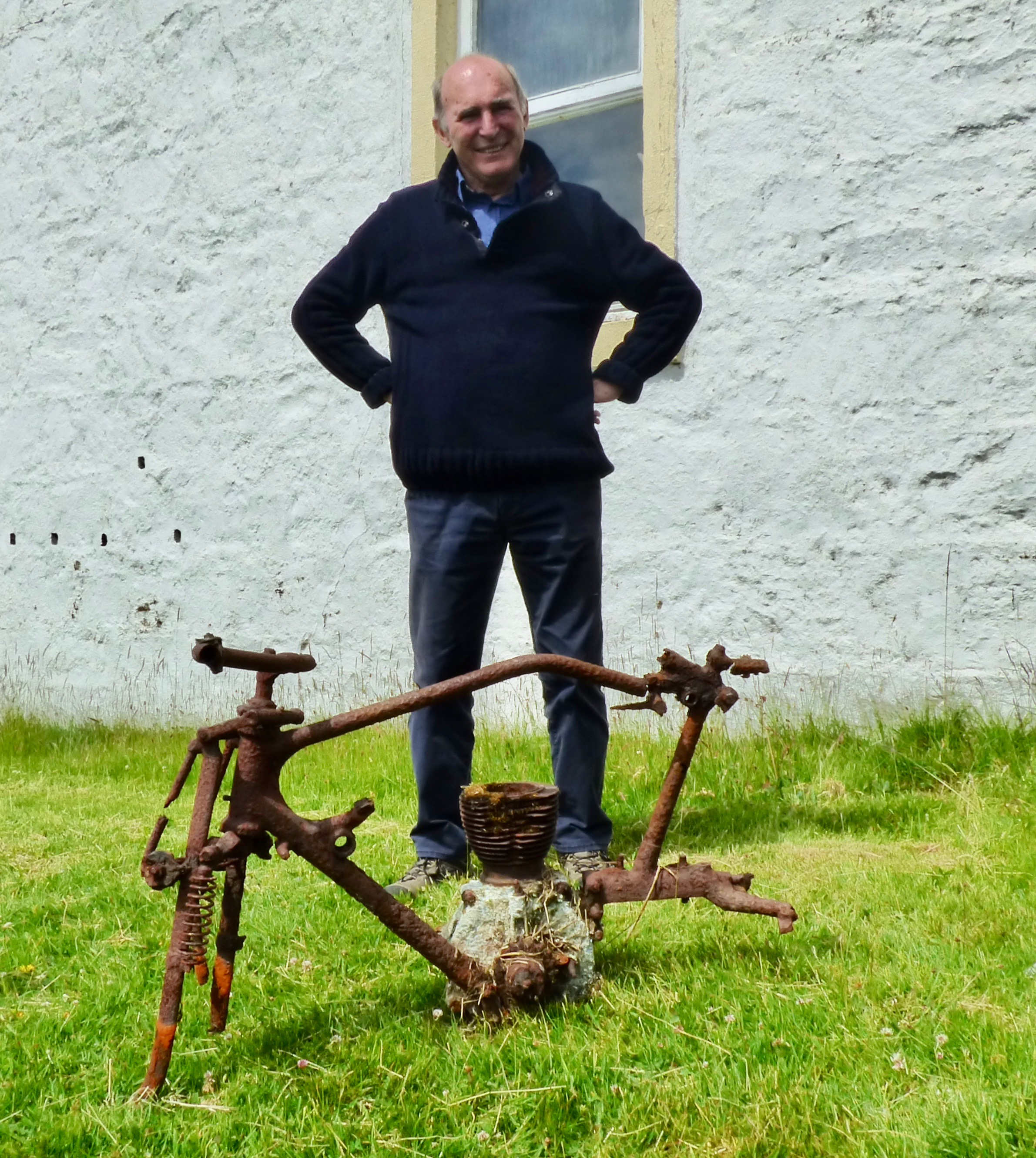 Norman Bissell at Barnhill with George Orwell's old motorbike.