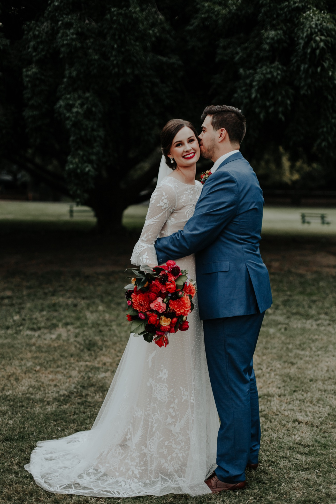 Hayley & Evan - I absolutely loved working with Jennifer. My wedding dress is more than I could have hoped for and fit like a glove. Putting it on truly made me feel like a bride and excited for the rest of the day. I had so much fun wearing it.My dress was one of Jennifer's base designs with the sleeves from another one of her other dresses.She also customised the zip enclosure to include buttons from my mothers wedding dress which was very special.Thanks again, Jennifer!