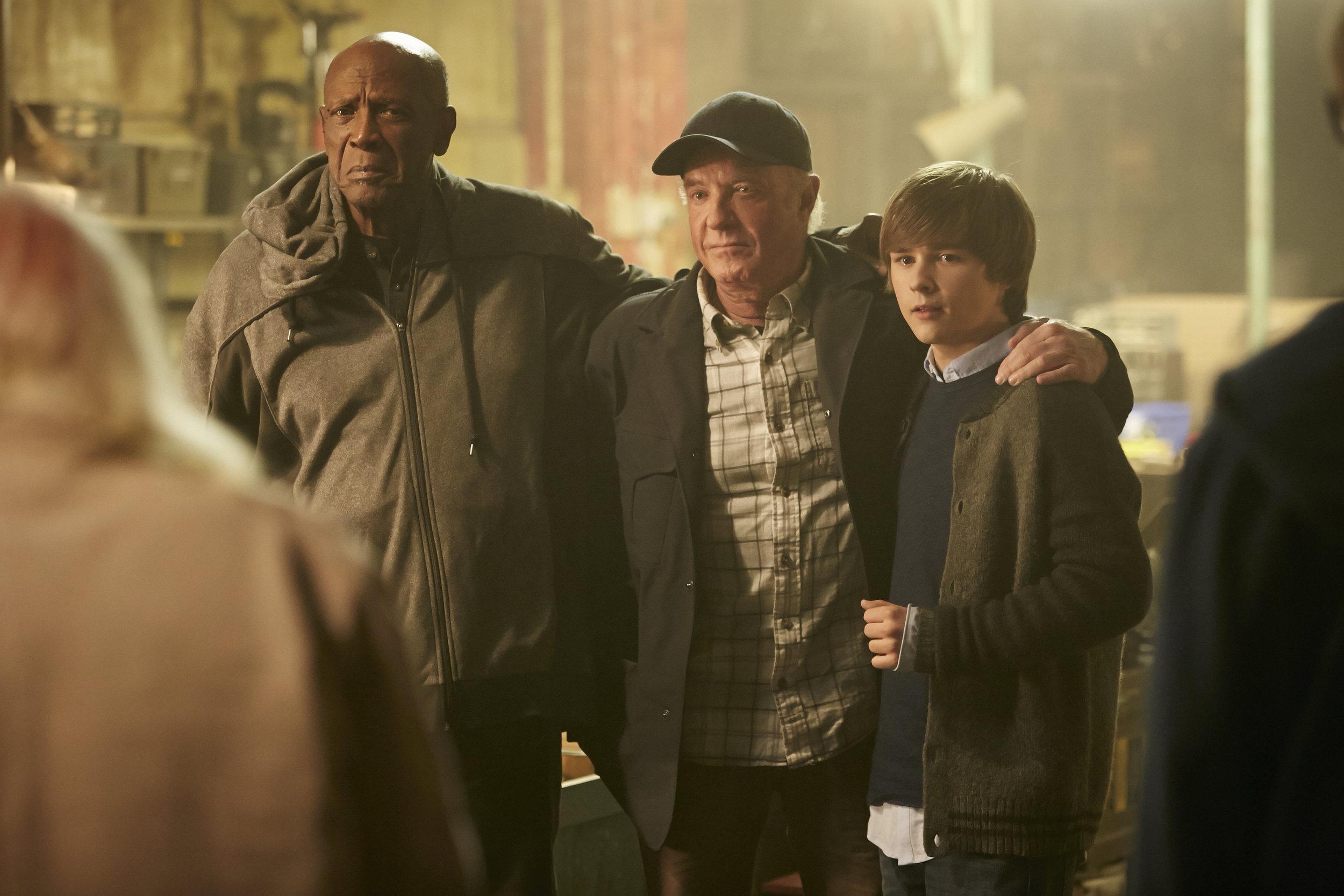 Lou Gossett Jr., James Caan and Dylan Everett in Undercover Grandpa