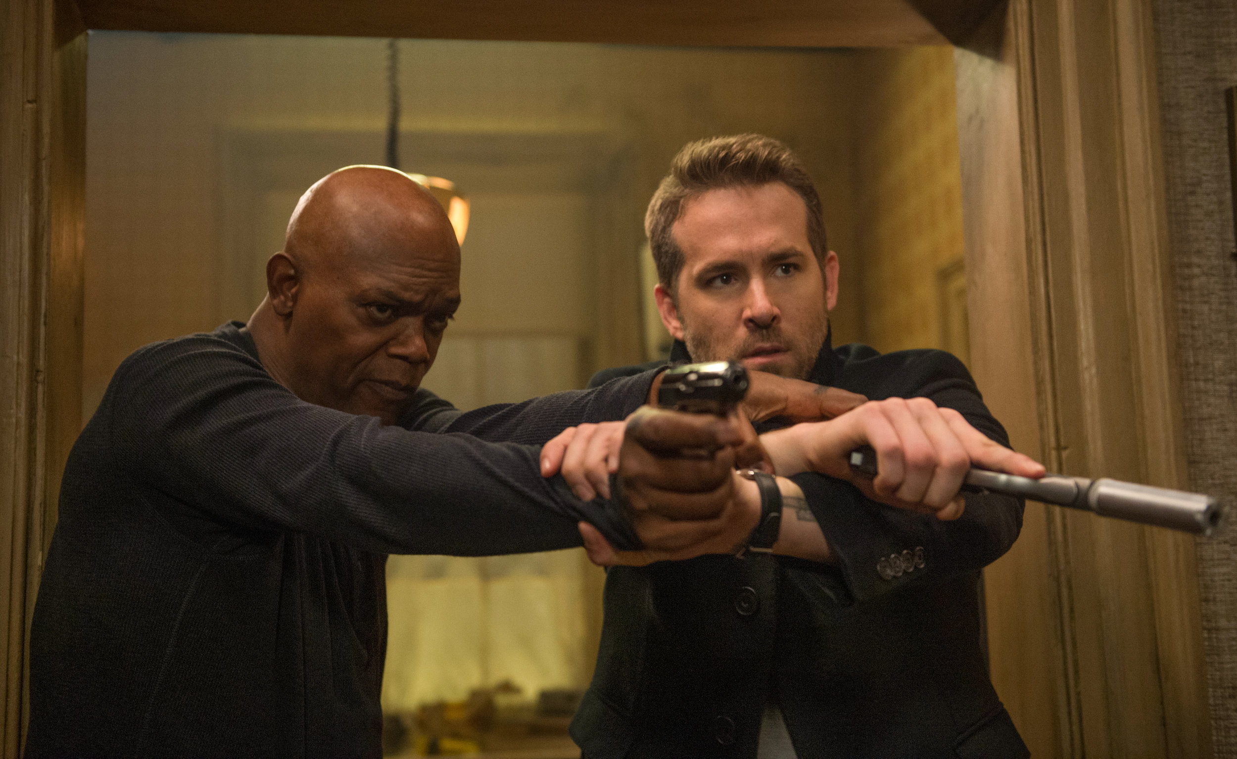 Jackson and Reynolds in The Hitman's Bodyguard.