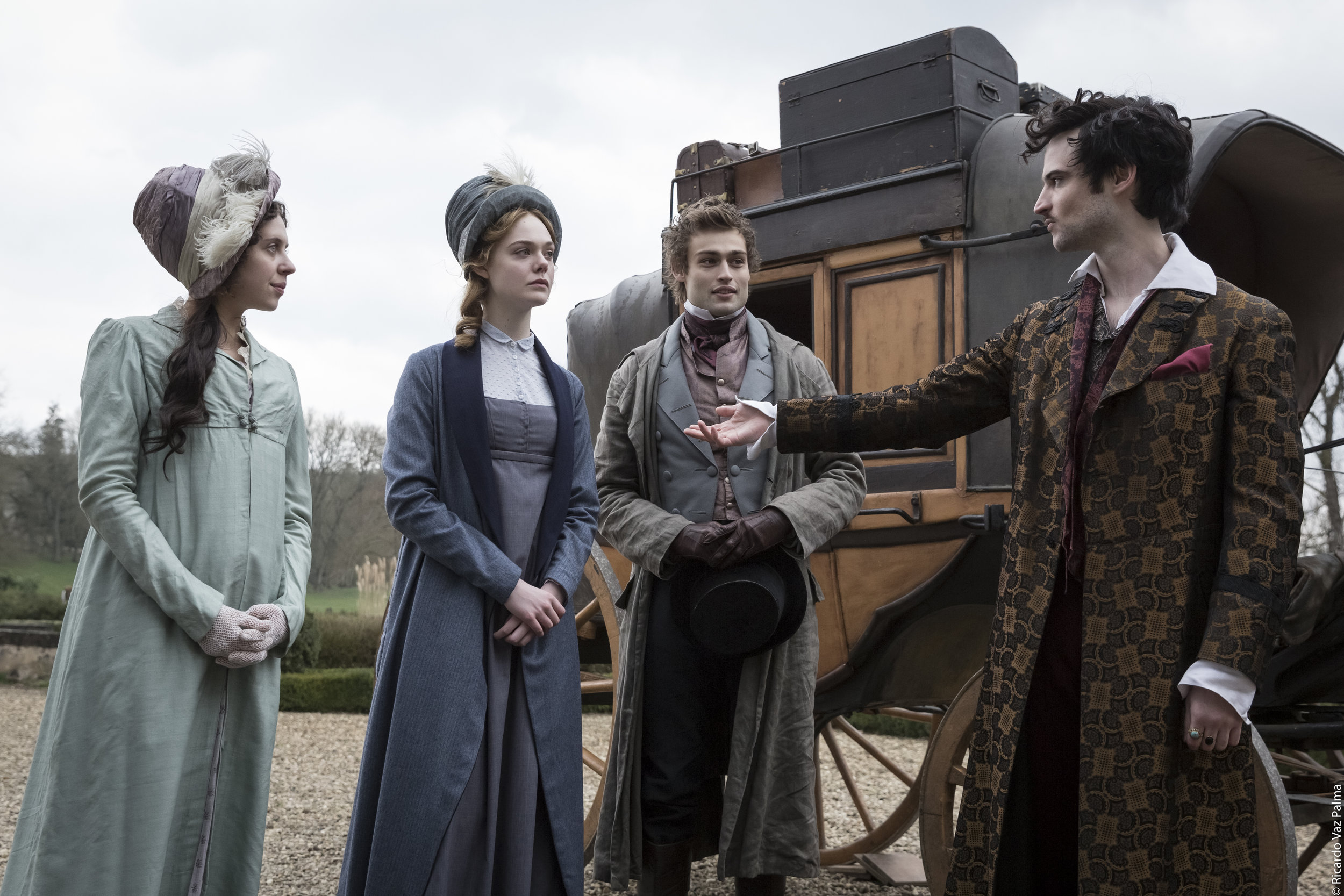 Bel Powley, Elle Fanning, Douglas Booth and Tom Sturbridge in Mary Shelley