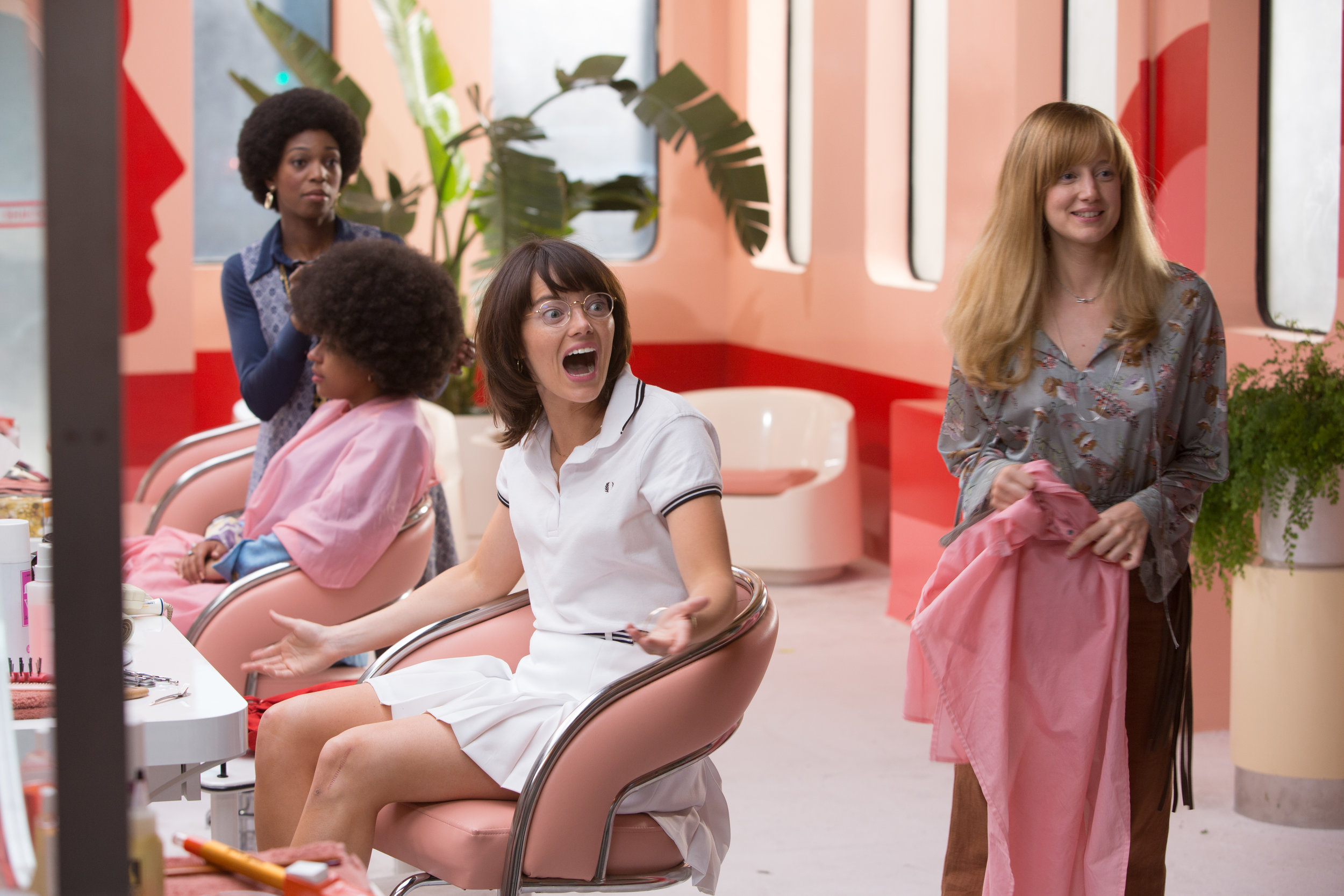 Emma Stone with Andrea Riseborough, a lover AND a hairdresser. Not a bad deal.