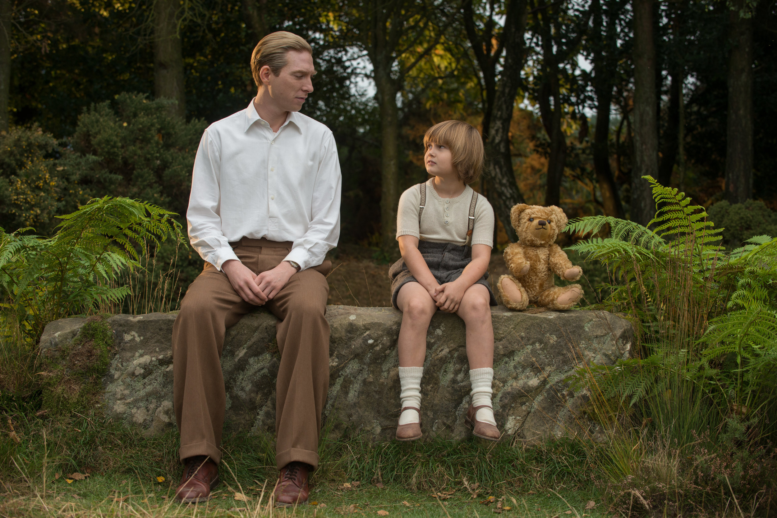 Oh bother. Gleeson, Tilston and friend in Goodbye Christopher Robin