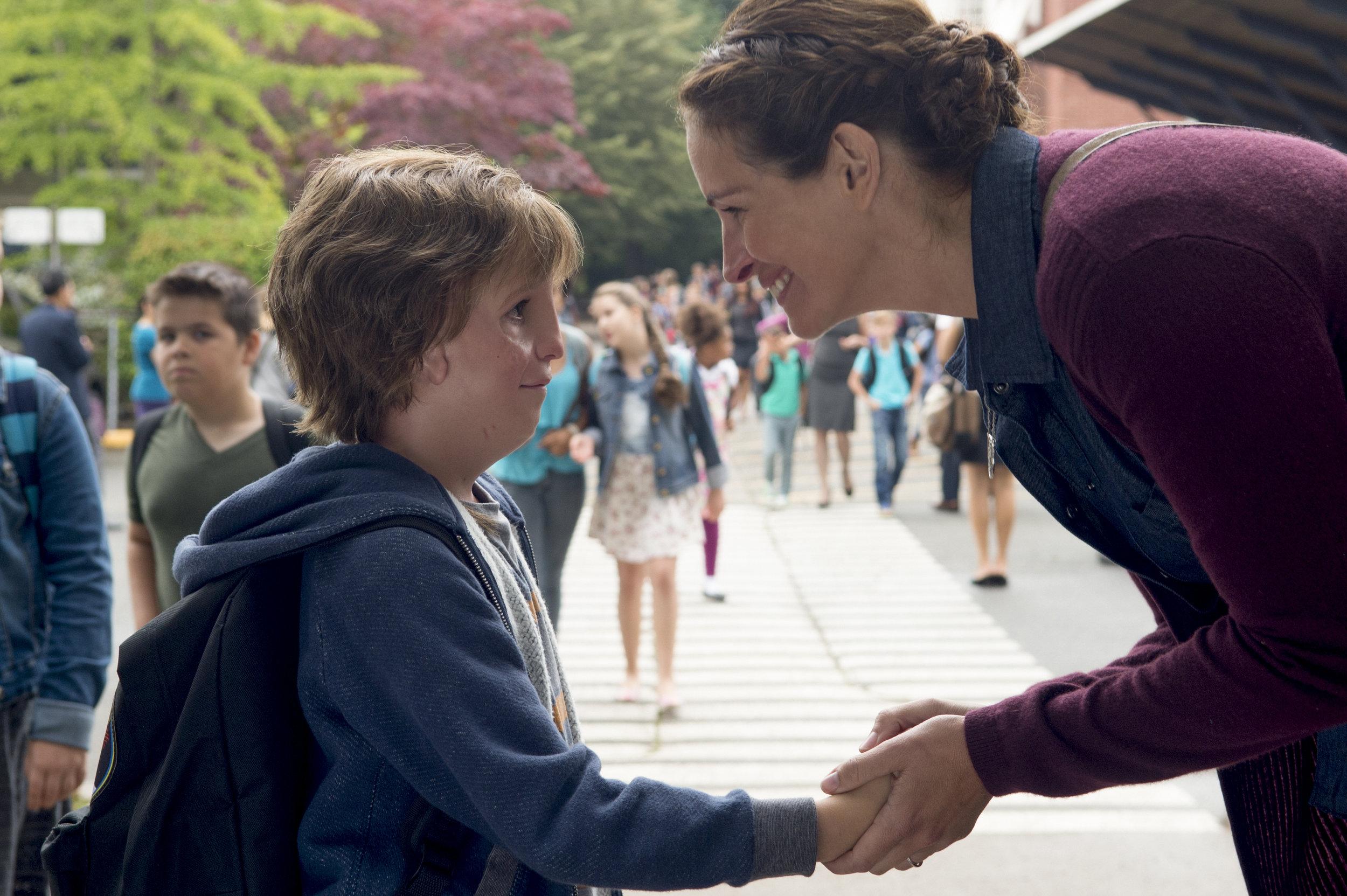 "Jacob Tremblay as Auggie and ""Queen Bee"" Julia Roberts in Wonder"
