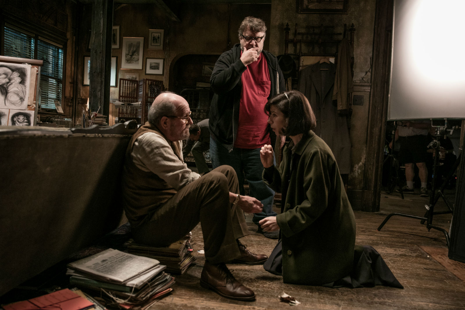 Richard Jenkins (left) and Sally Hawkins on set with director Guillermo Del Toro.