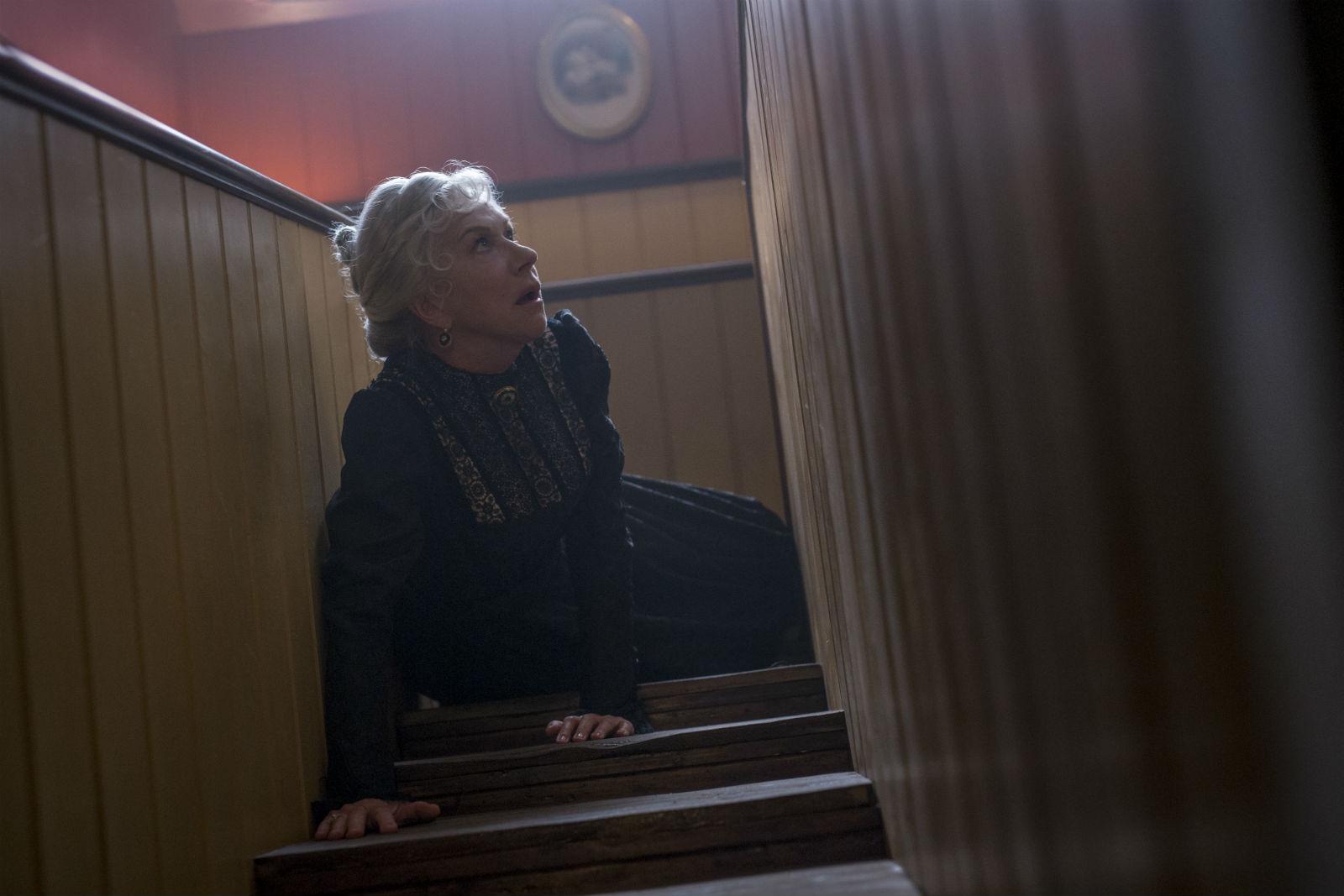 Helen Mirren ponders architectural folly in Winchester.