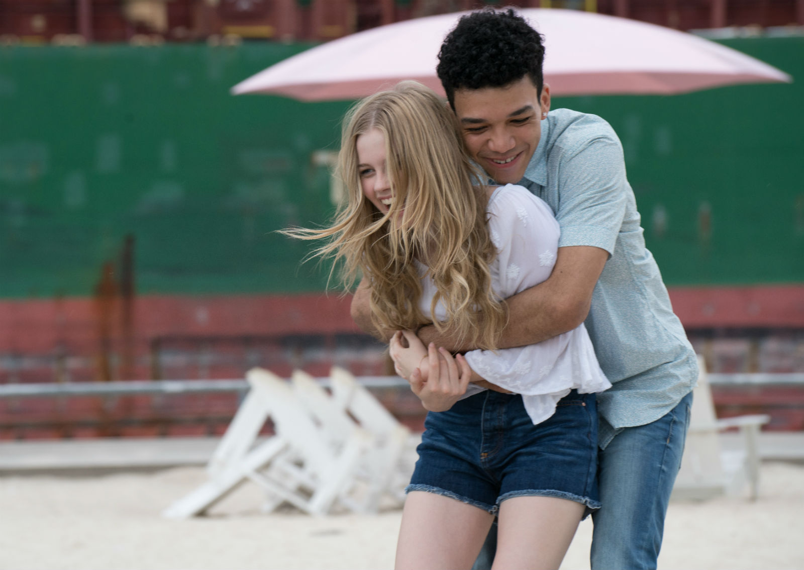 Teen love at Toronto's Sugar Beach.