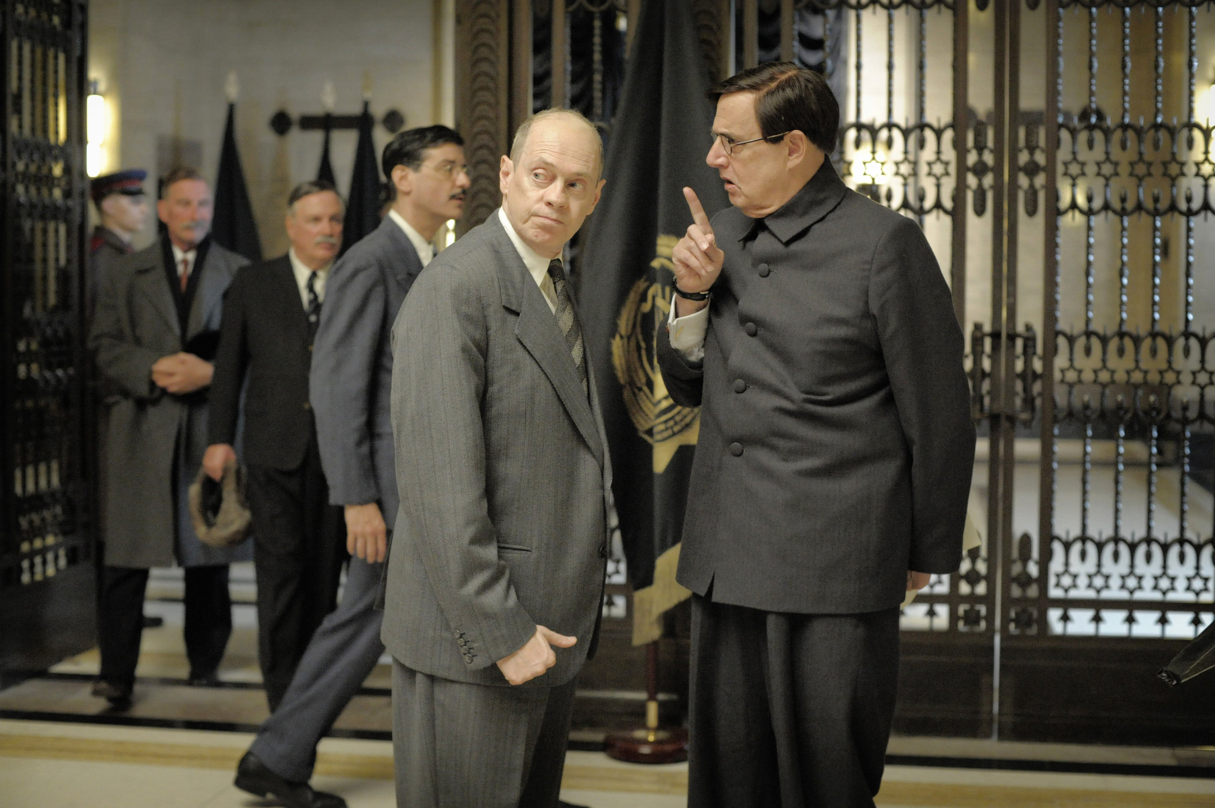 Khrushchev (Steve Buscemi) and Malenkov (Jeffrey Tambor) conspire in The Death of Stalin