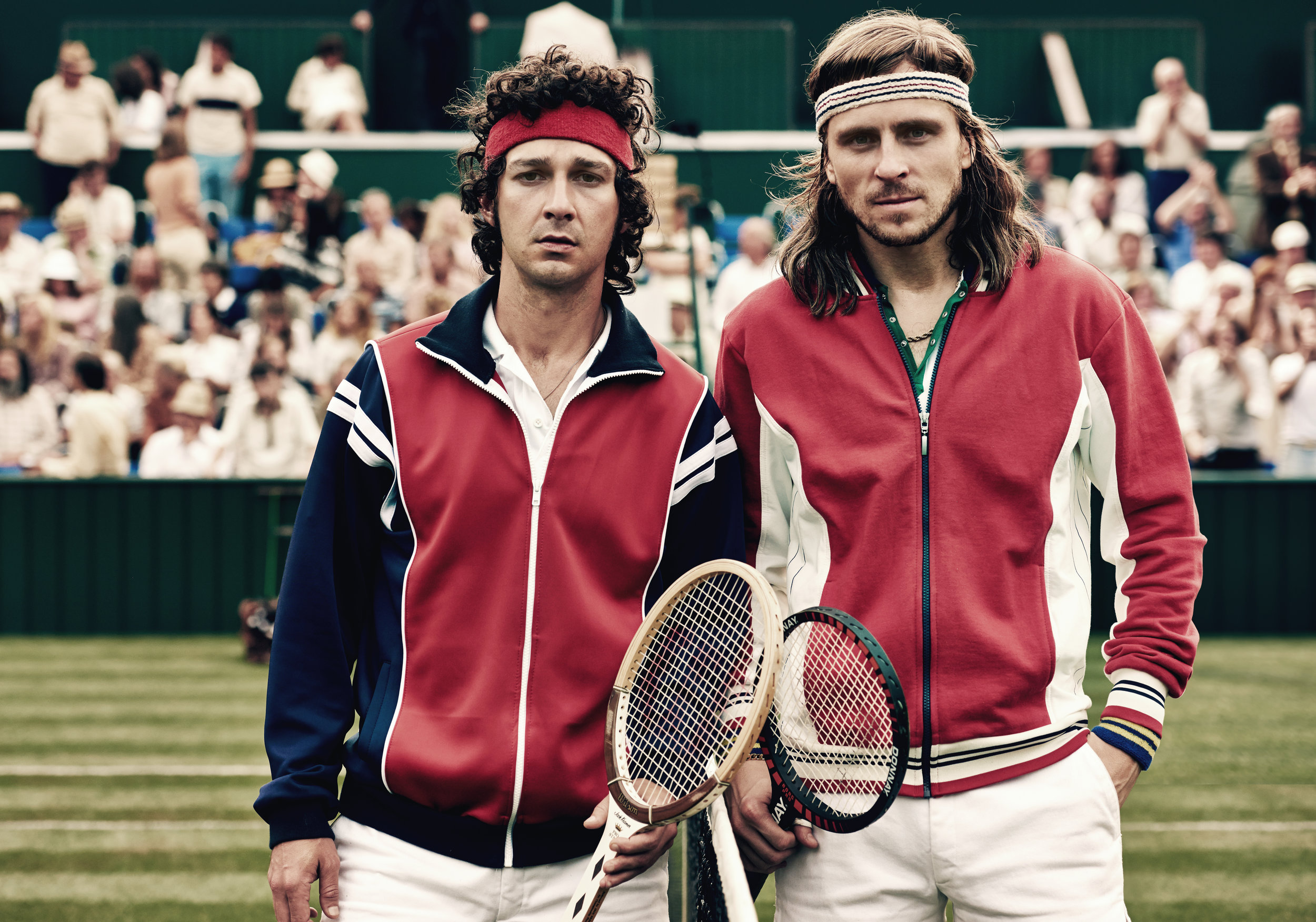 Shia LaBeouf and Sverrir Gudnason as John McEnroe and Bjorn Borg