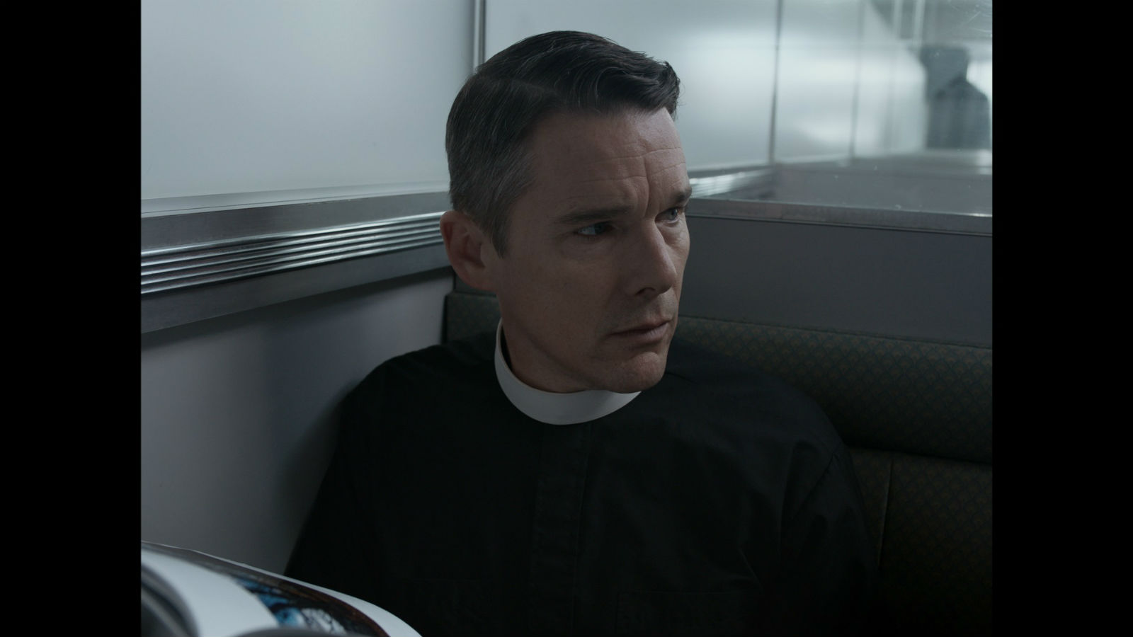 Ethan Hawke in a scene from First Reformed.