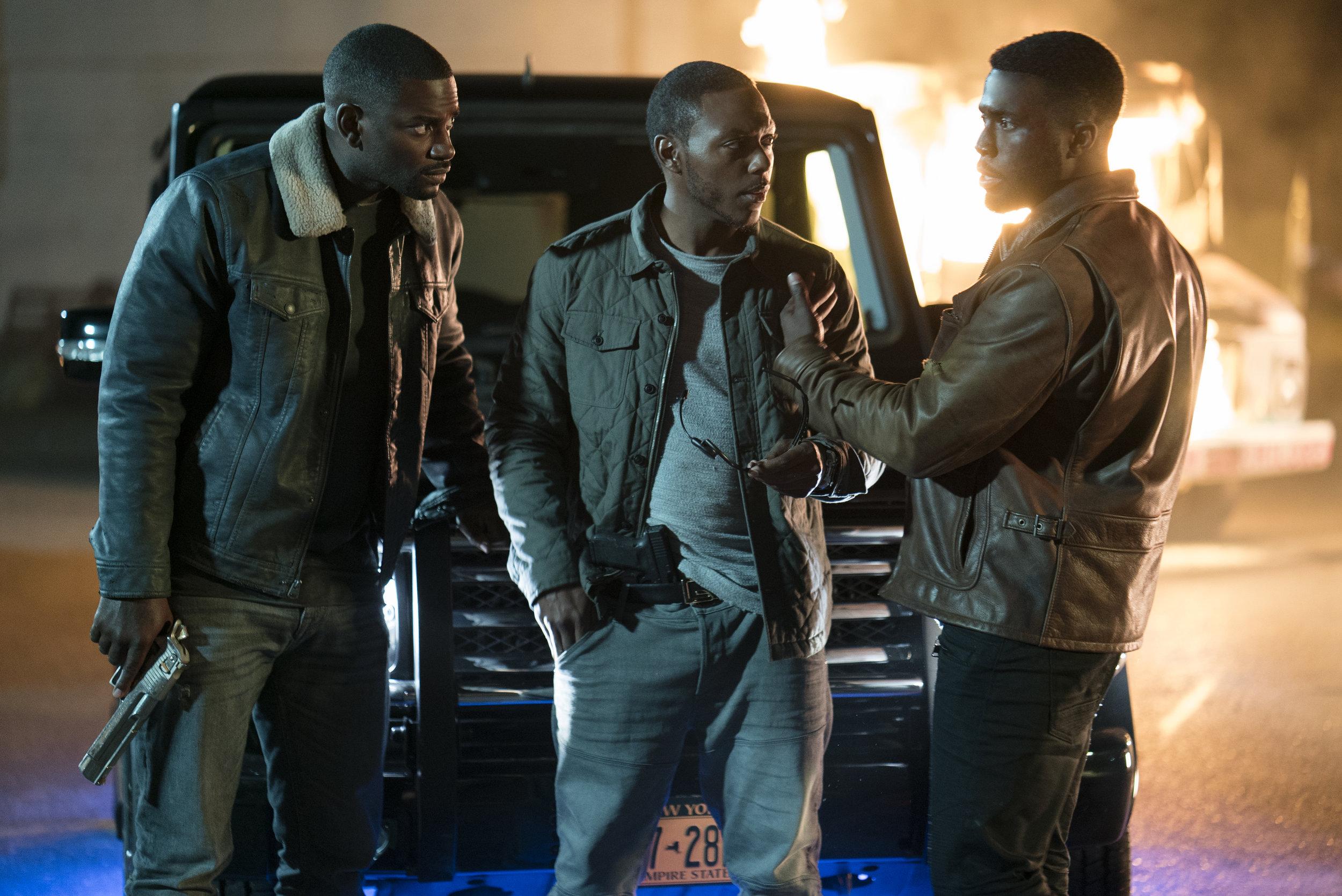 Good guy drug kingpin Lorenza (Y'lan Noel, right) and lieutenants get set for war with Whitey