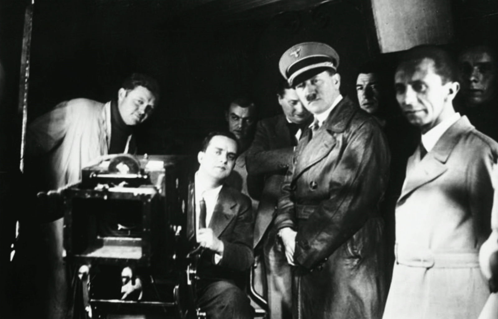 Hitler and Goebbels on set. No popcorn blockbusters for these knuckleheads...