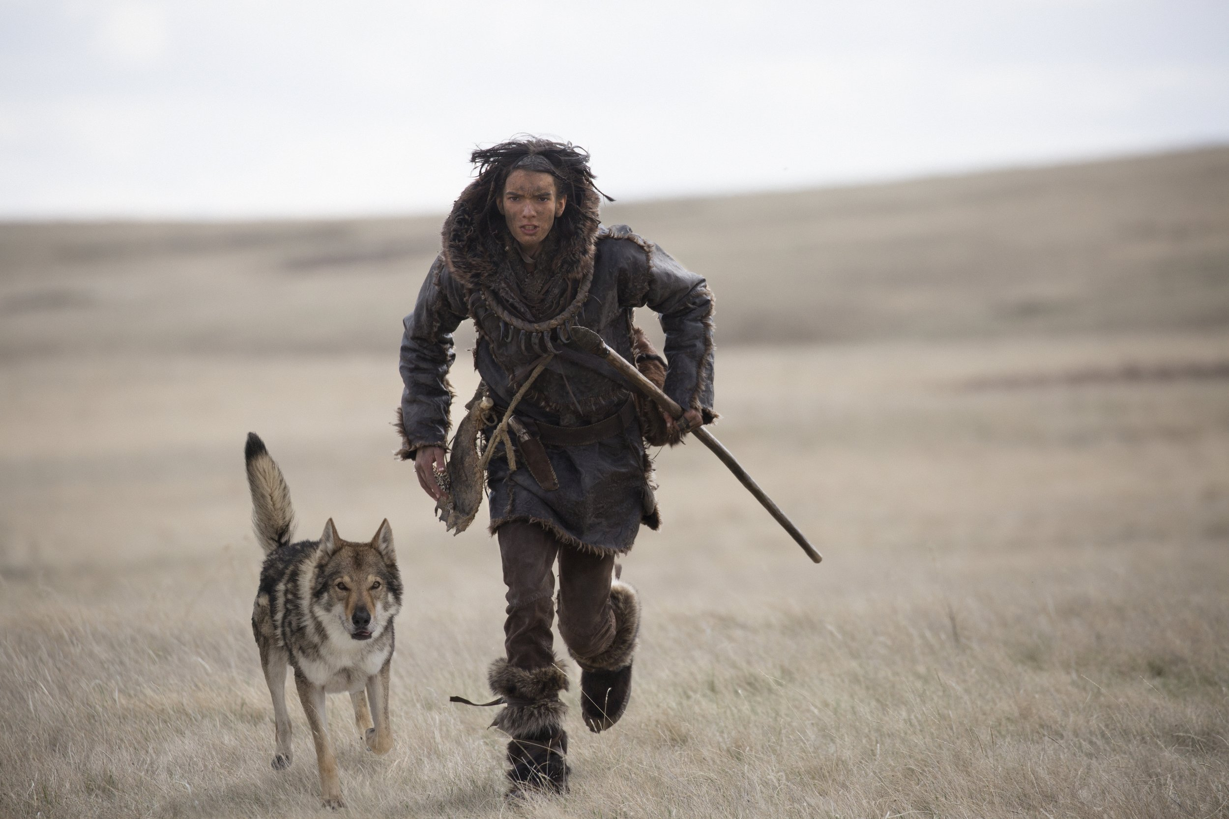 When hairy met Kodi.Kodi Smit-McPhee and Chuck the wolf-dog in Alpha