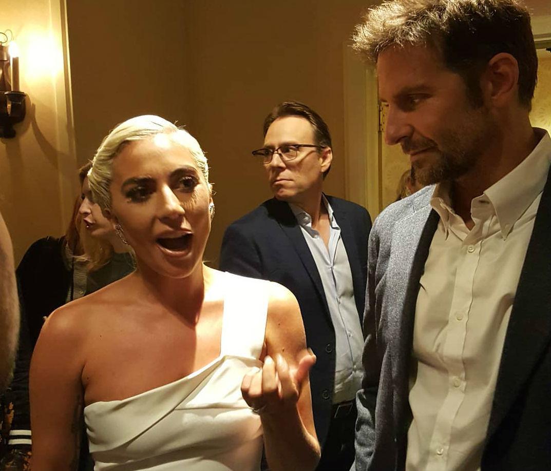 Lady Gaga and Bradley Cooper make an entrance.