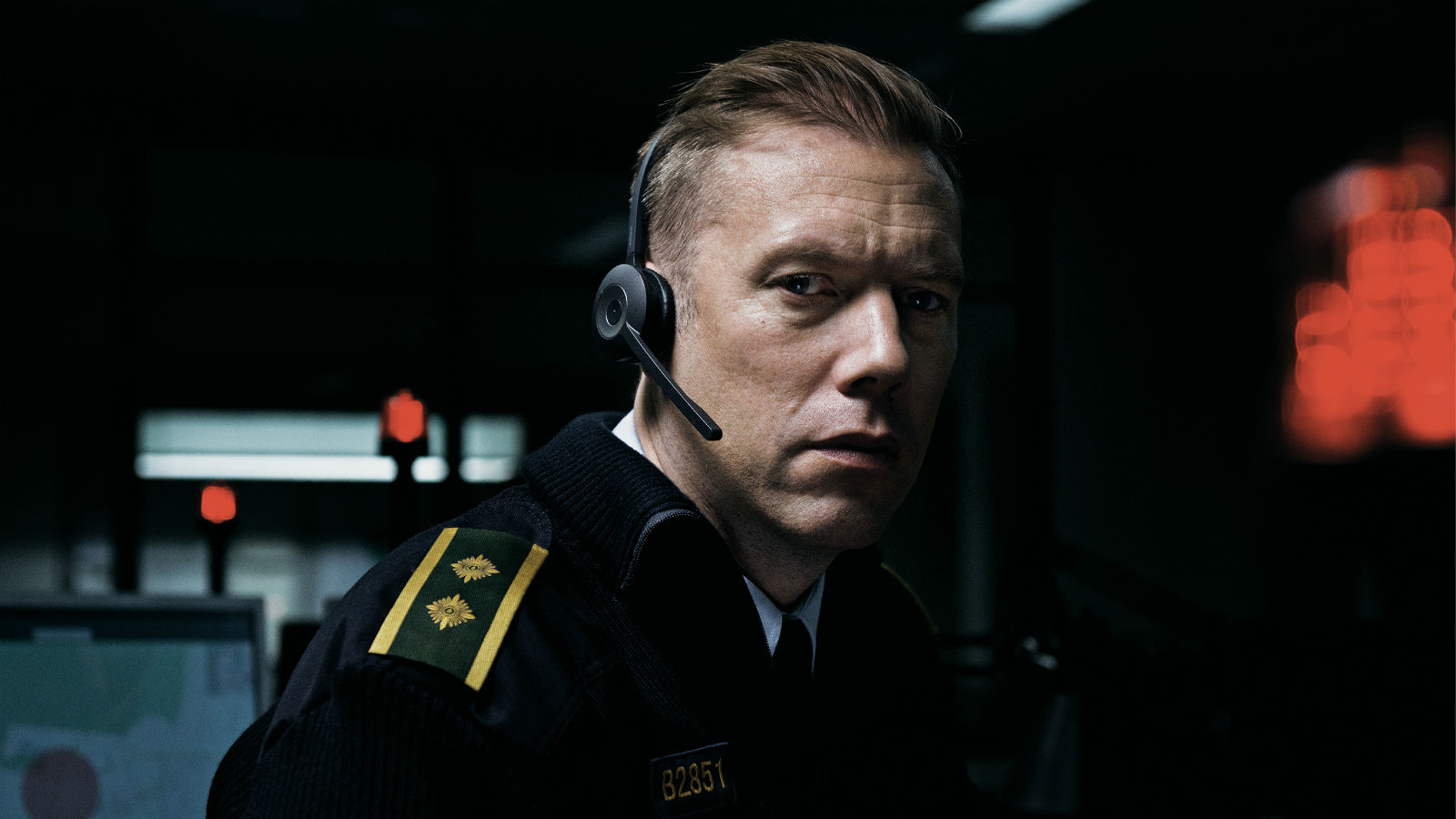 Actor Jakob Cedergren in a scene from  The Guilty .
