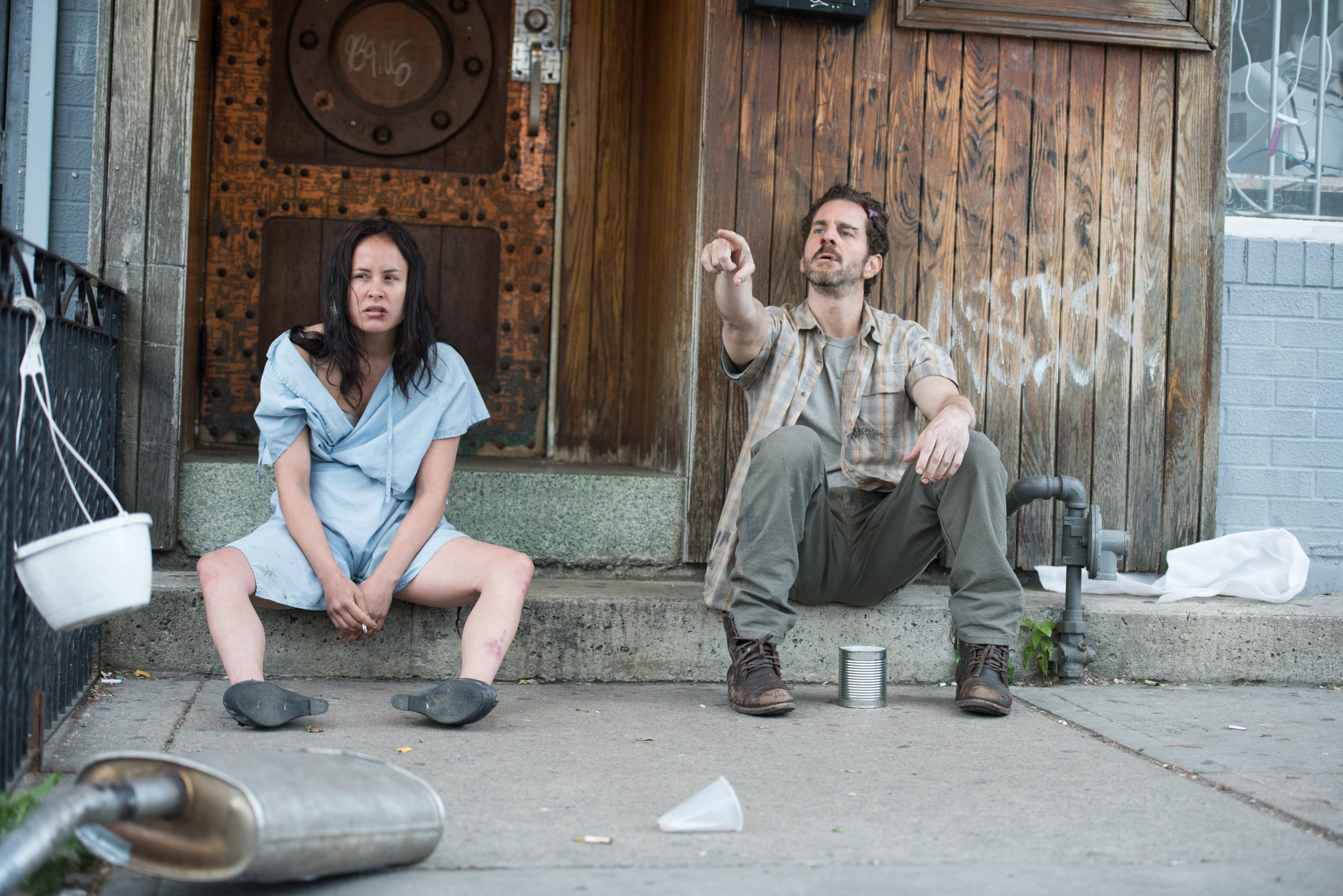 Pirie and Abrams as Lacie and Owen, two people who hit rock bottom together, played for laughs