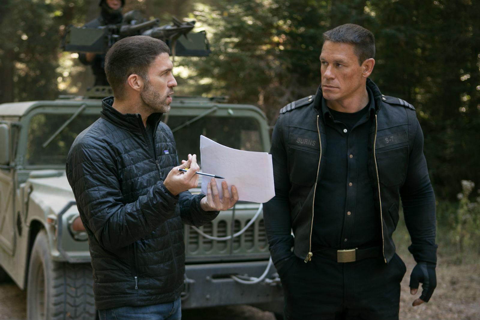 Director Travis Knight (left) with actor John Cena.