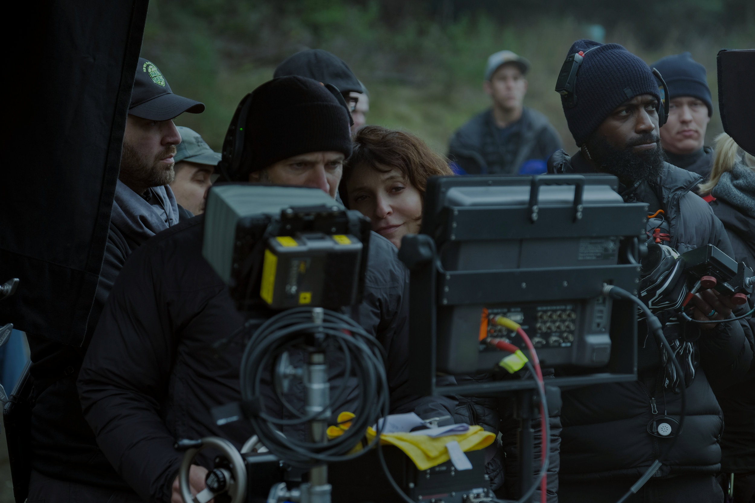 Trevante Rhodes (right) with Bird Box director Susanne Bier.