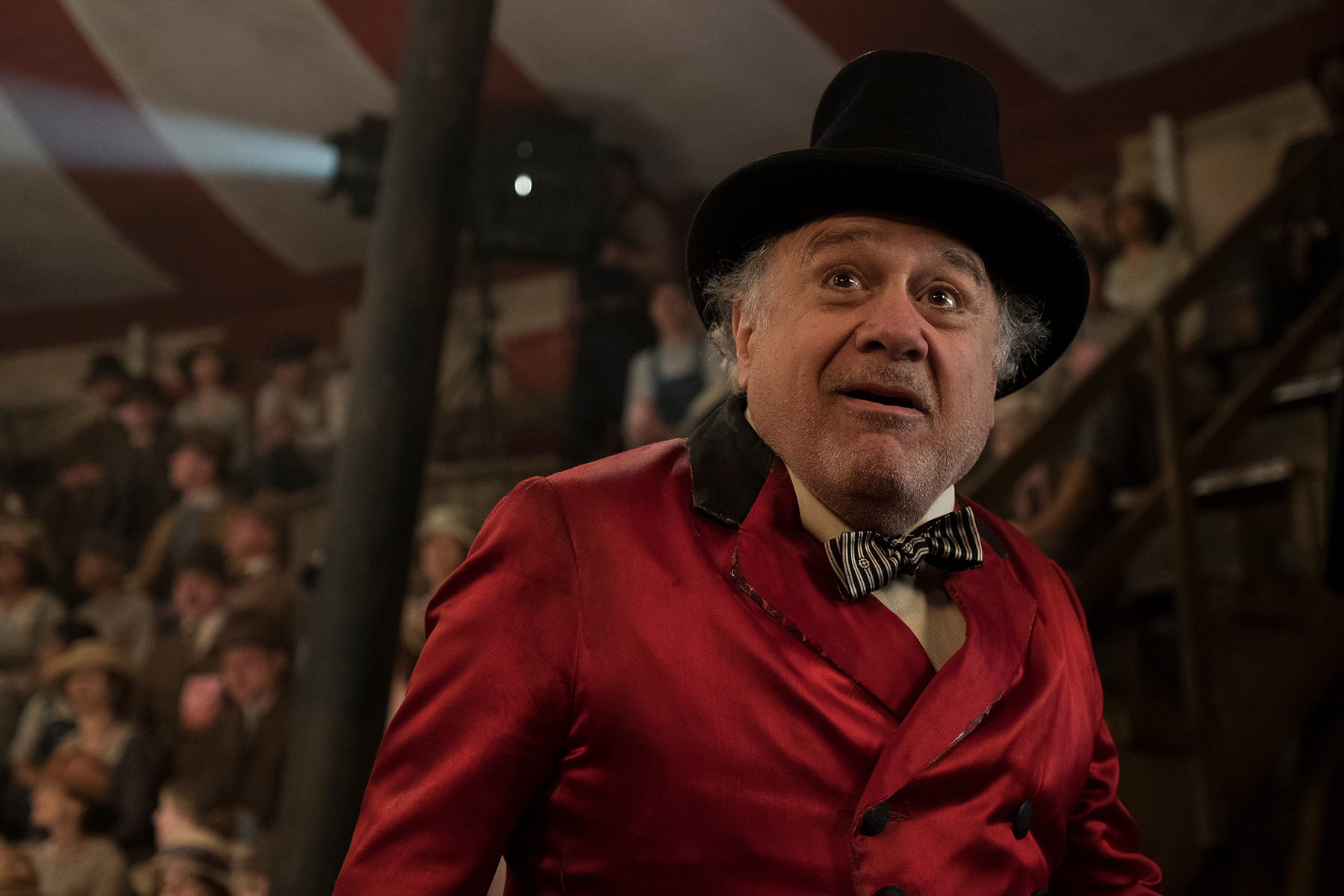 Danny DeVito, as the Ringmaster in Dumbo, can't believe an elephant can fly.