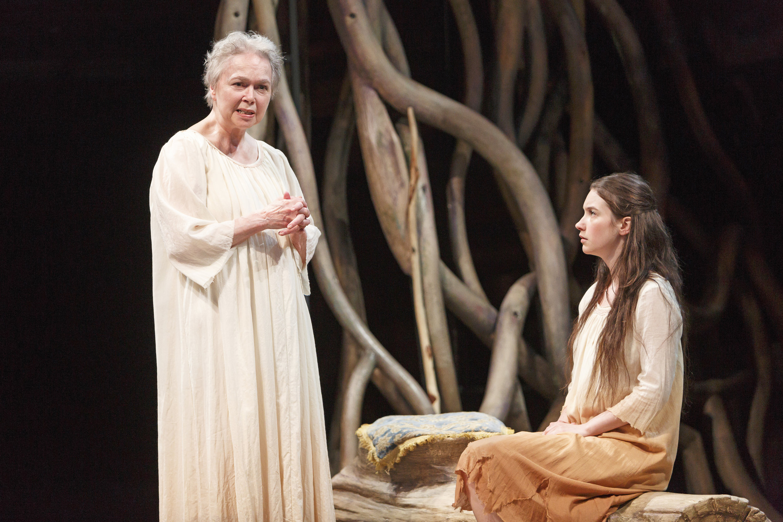 Prospero (Martha Henry) dispenses sage advice to daughter Miranda (Mamie Zwettler)