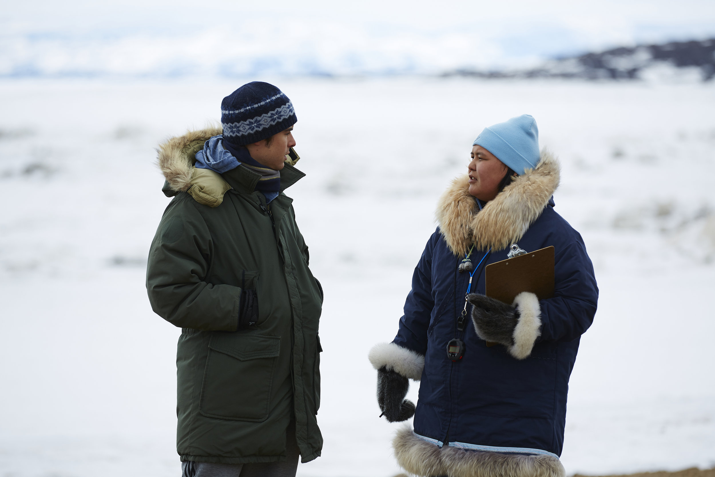 Russ (Ben Schnetzer) gets told what's what in Nunavut by Miranda (Emerald MacDonald) in The Grizzlies