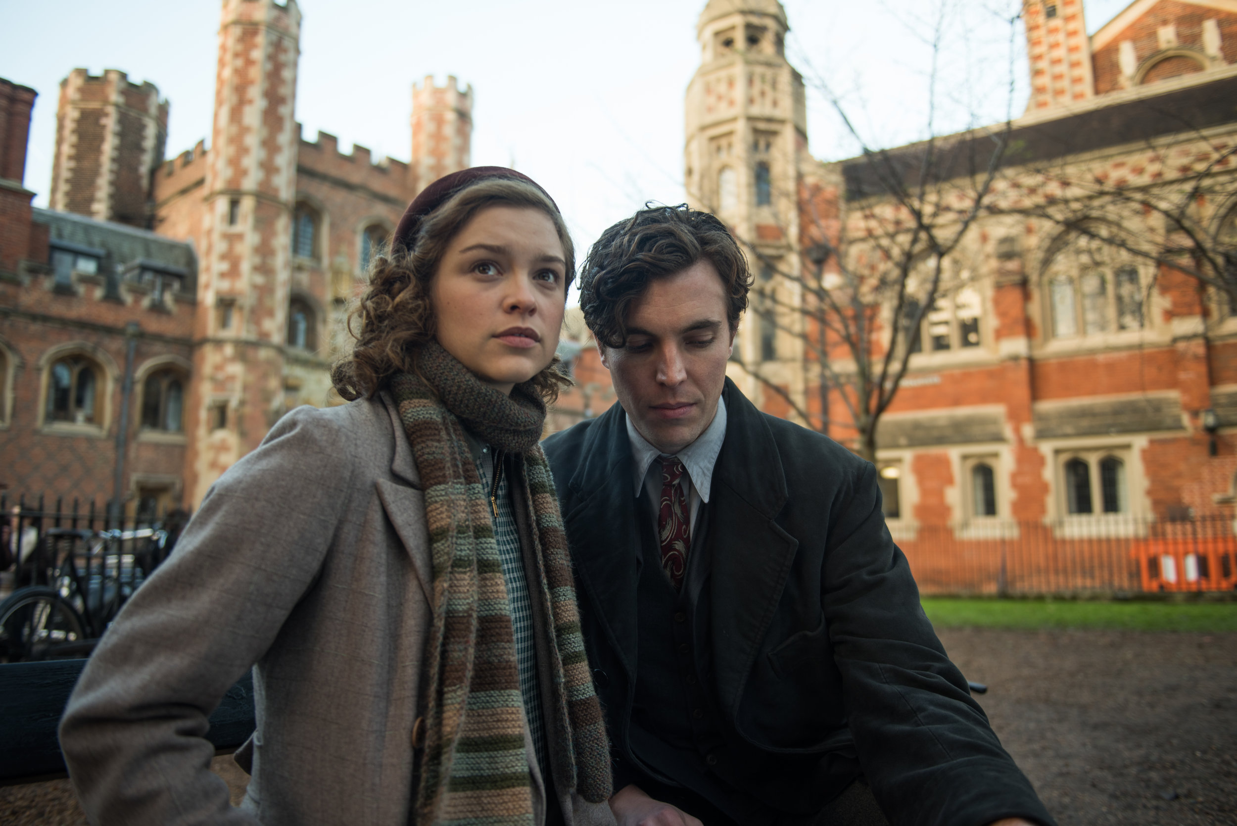 Physicist Sophie Cookson has sweet Stalinist nothings whispered in her ear by Tom Hughes in Red Joan