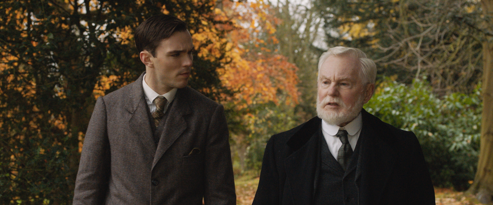 The young Tolkien (Nicholas Hoult) receives sage advice from an inspirational professor (Derek Jacobi)