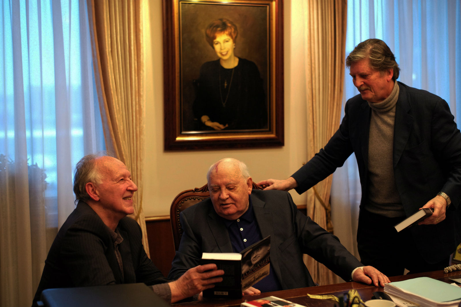 Herzog (left), Gorbachev and Singer.
