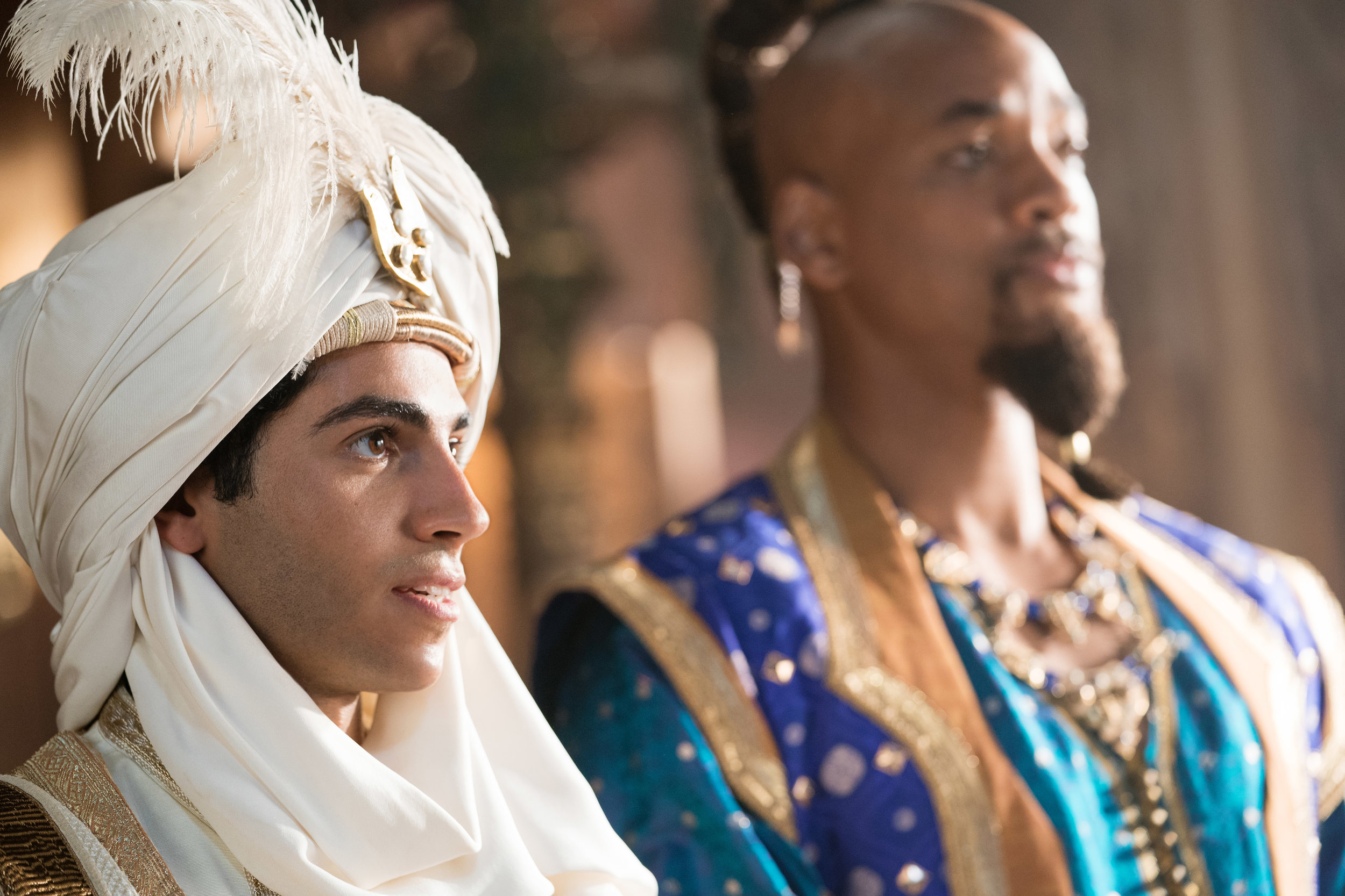 Mena Massoud as Aladdin and Will Smith as the Genie in Disney's live-action Aladdin.