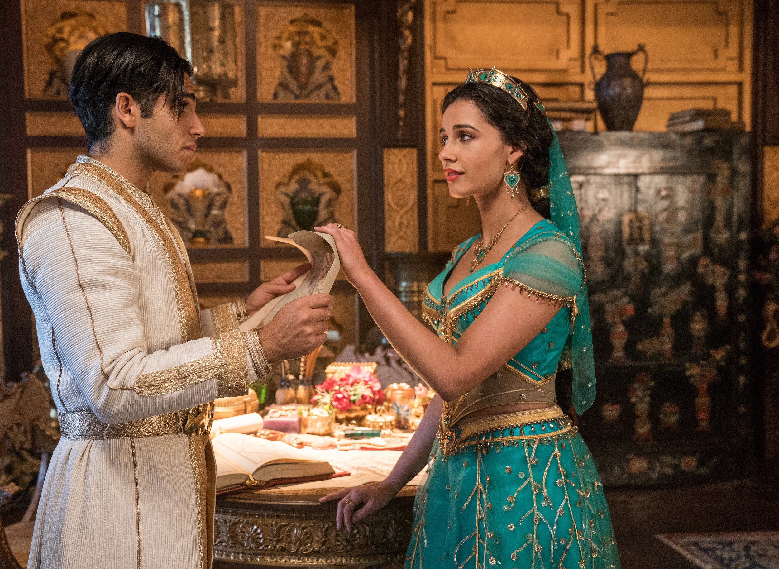 Mena Massoud and Naomi Scott take it a little slower in Disney's live-action Aladdin