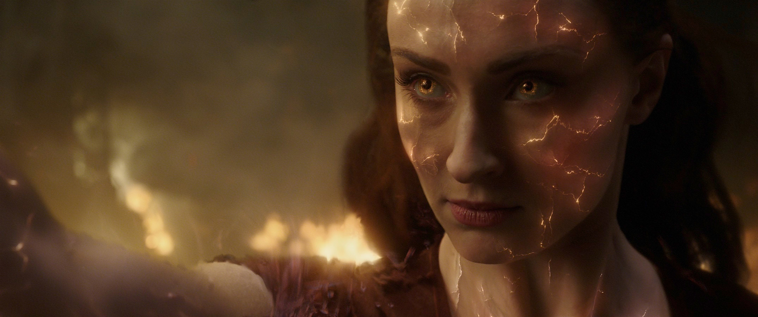 Sophie Turner as the enraged title mutant about to go nuclear in Dark Phoenix