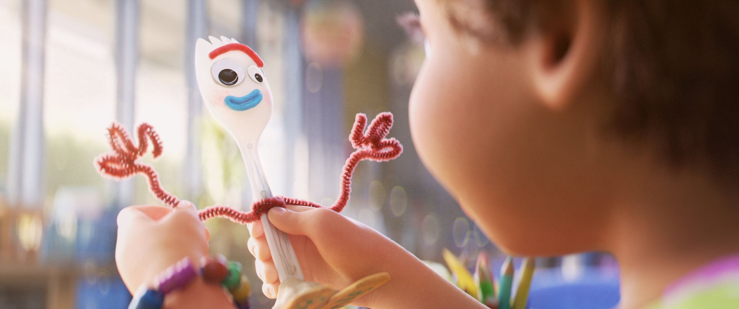 Forky (Tony Hale), the talking spork, has identity issues in Toy Story 4