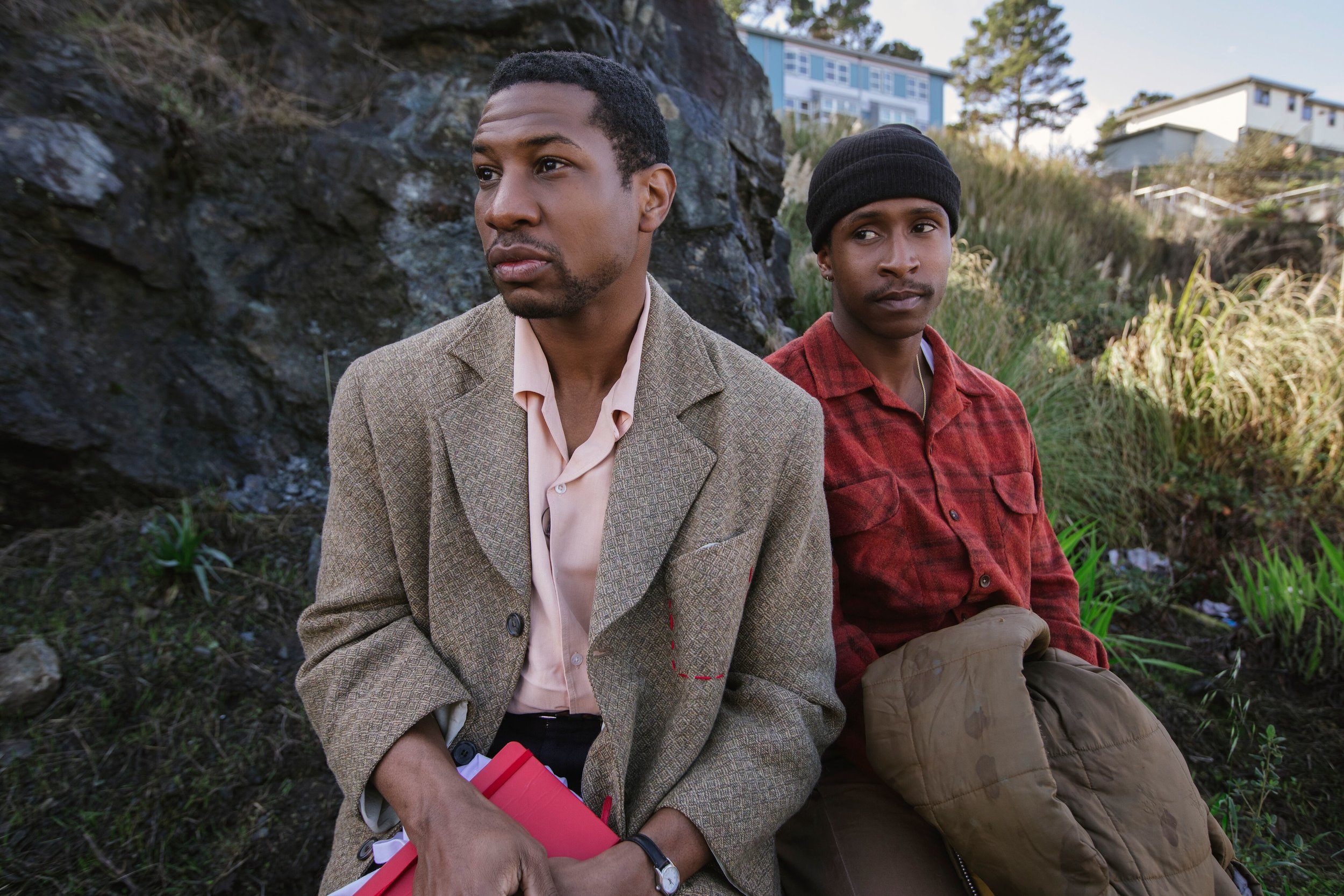 Mont and Jimmie (Jonathan Majors and Jimmie Fails) ponder their future in a priced-out San Francisco