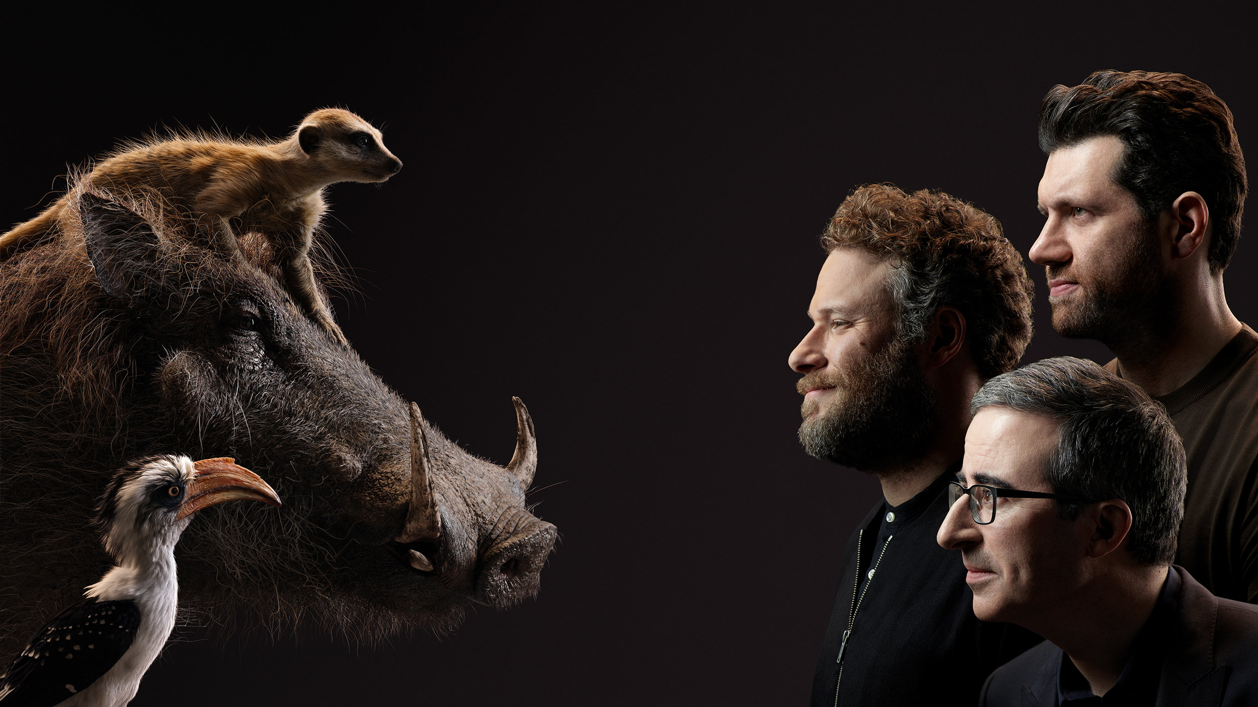 Zasu, Timon and Pumbaa meet their human counterparts, John Oliver, Seth Rogen and Billy Eichner