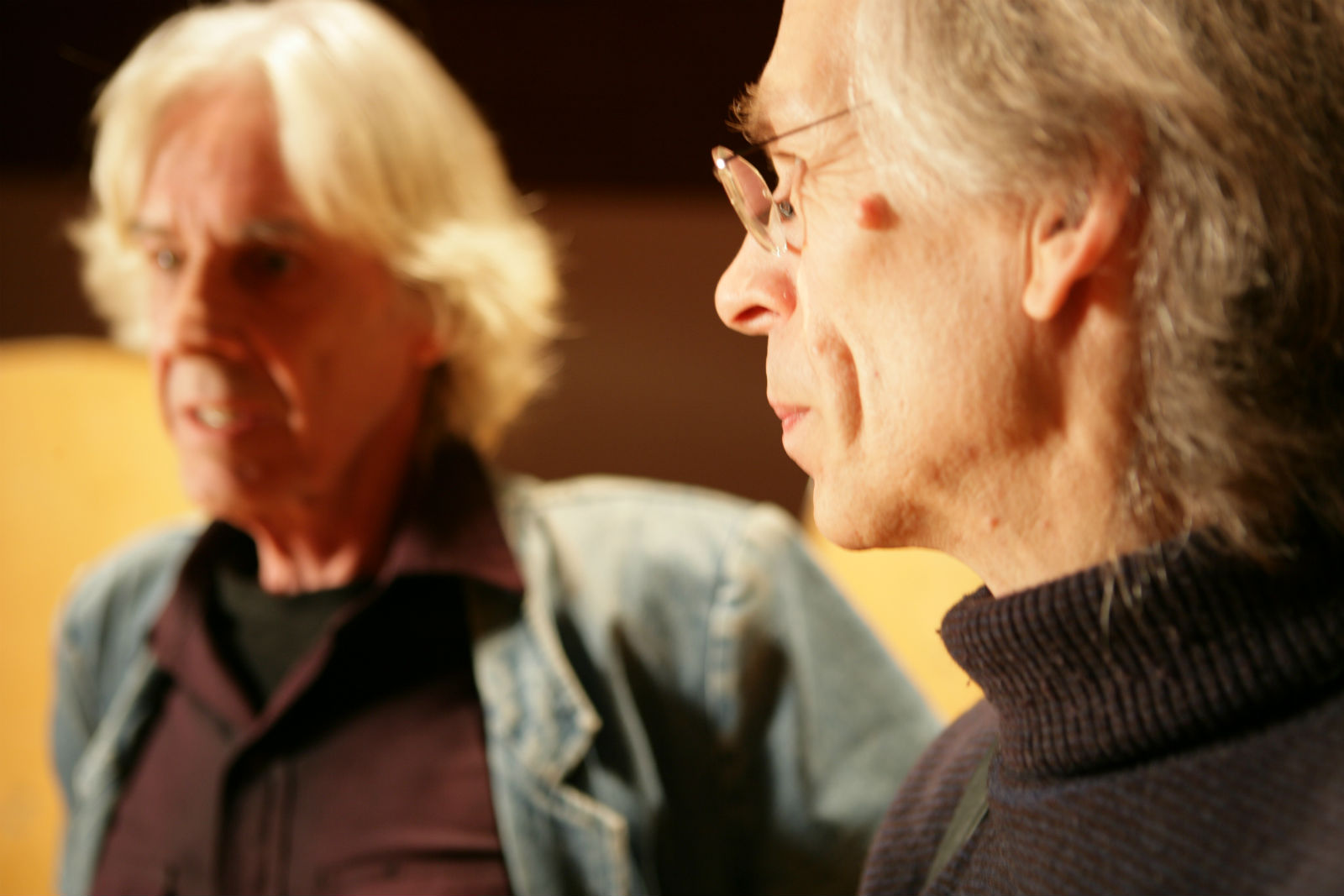 Barrie Wentzell (left) with Yes' Steve Howe.